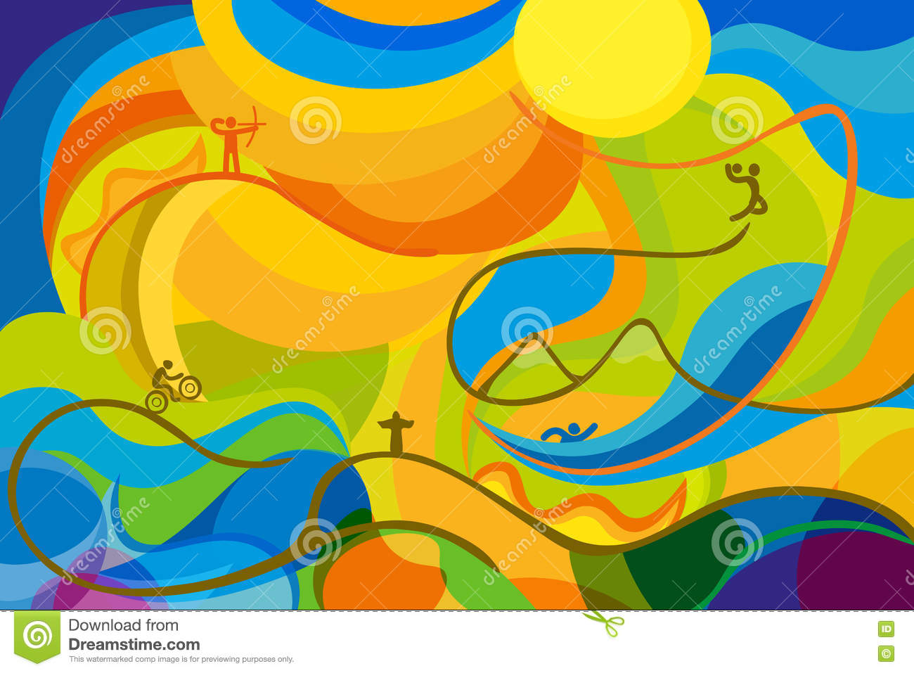 Summer Sports Wallpap: Rio 2016 Abstract Colorful Background Stock Vector
