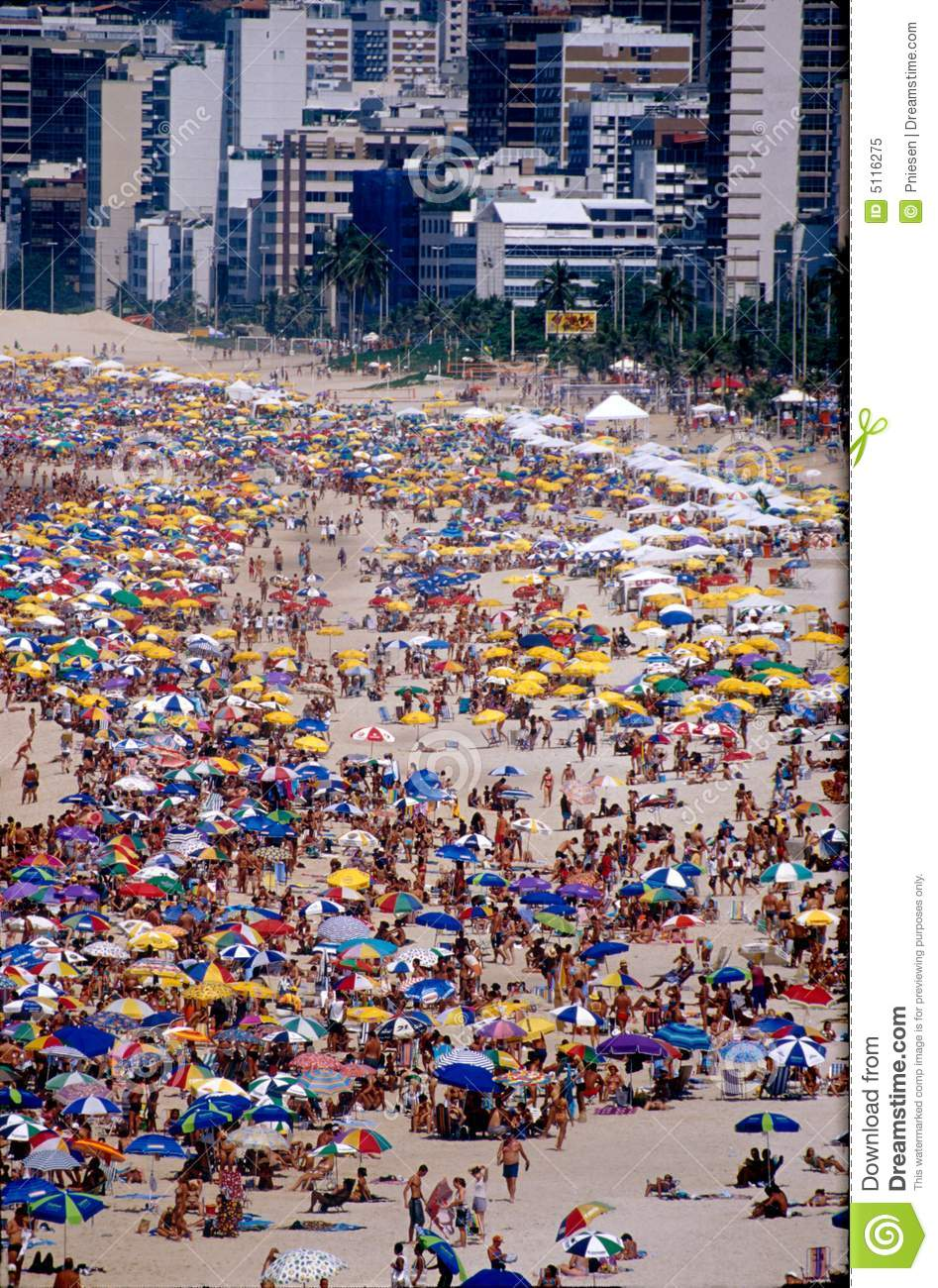 Rio beach & umbrellas during carnival