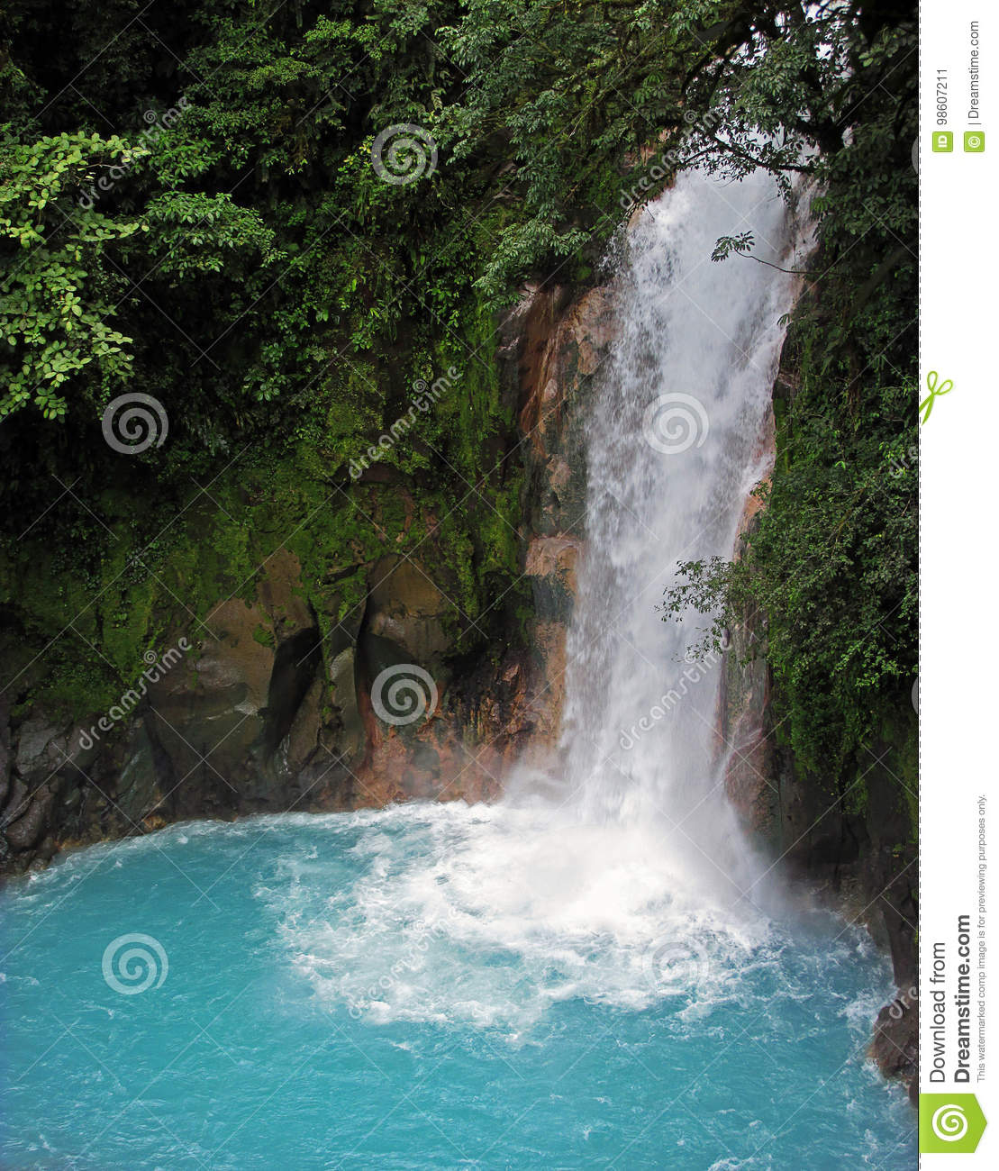 Rio Celeste Waterfall in Tenorio Volcano National Park in Costa Rica