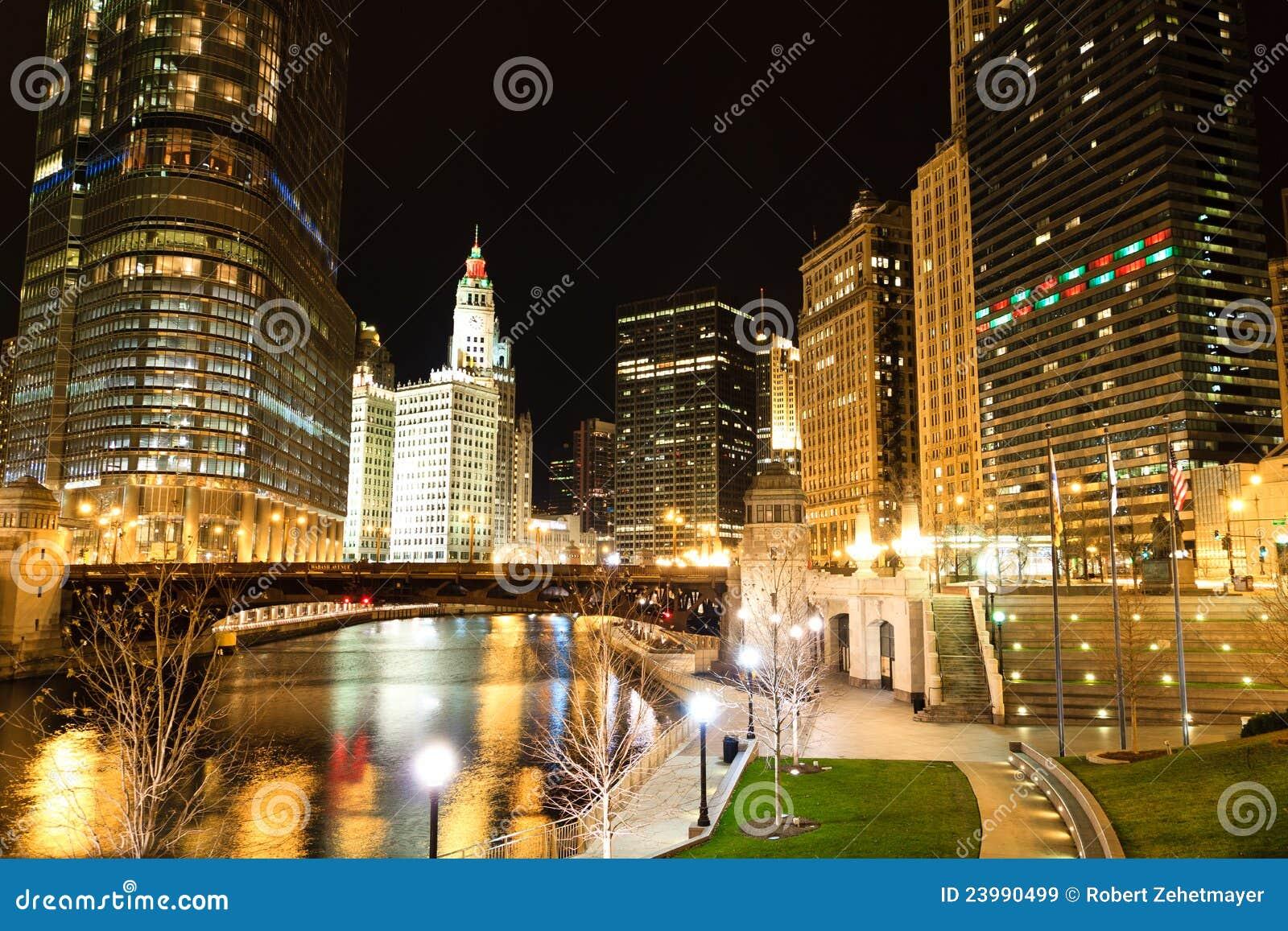 Rio de Chicago na noite