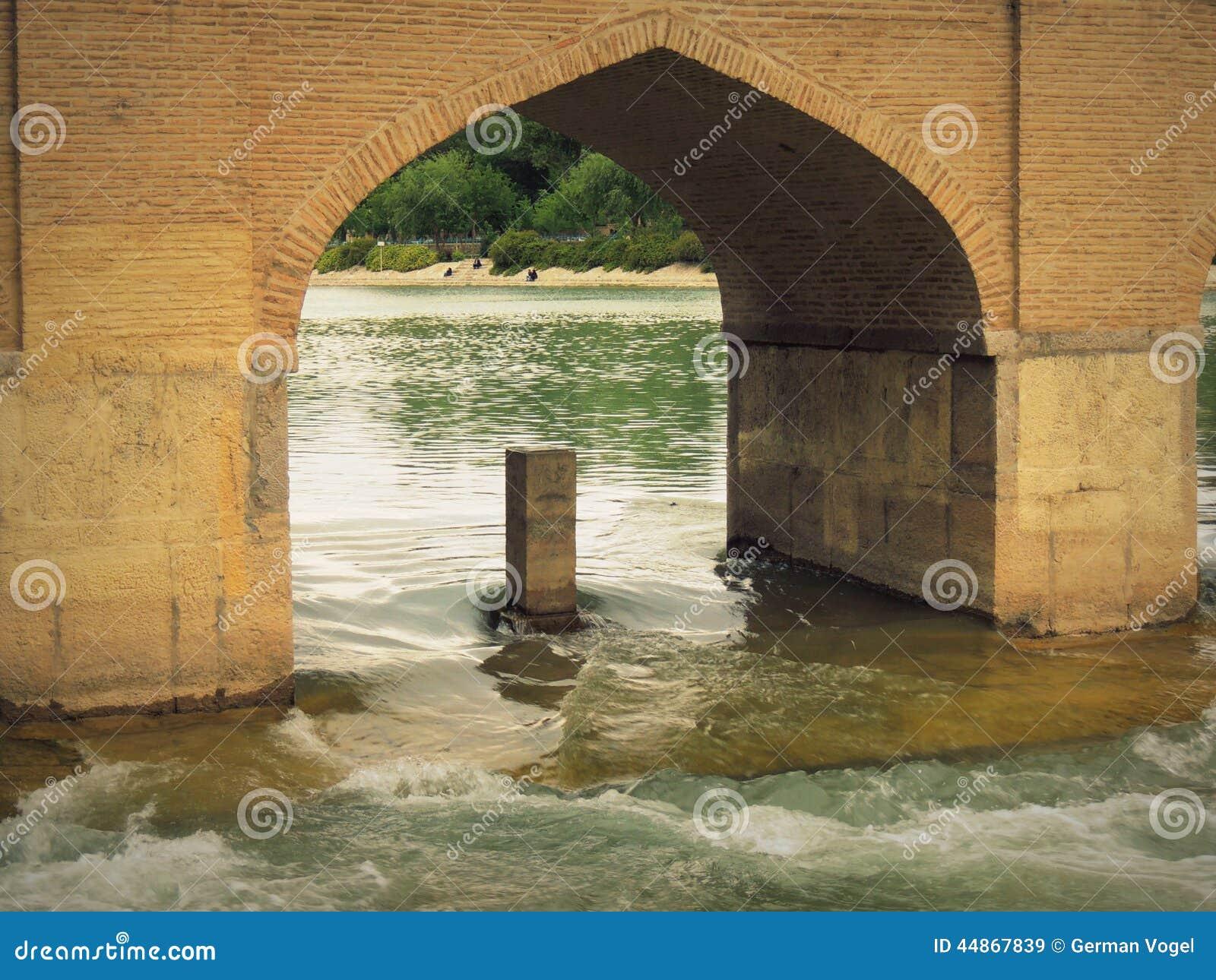 Rio de Isfahan Zayande pelo arco histórico da ponte de Safavid Chubi