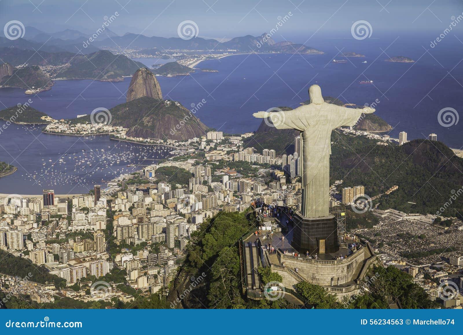 Rio de Janeiro, Brazil : Aerial view of Christ and Botafogo Bay
