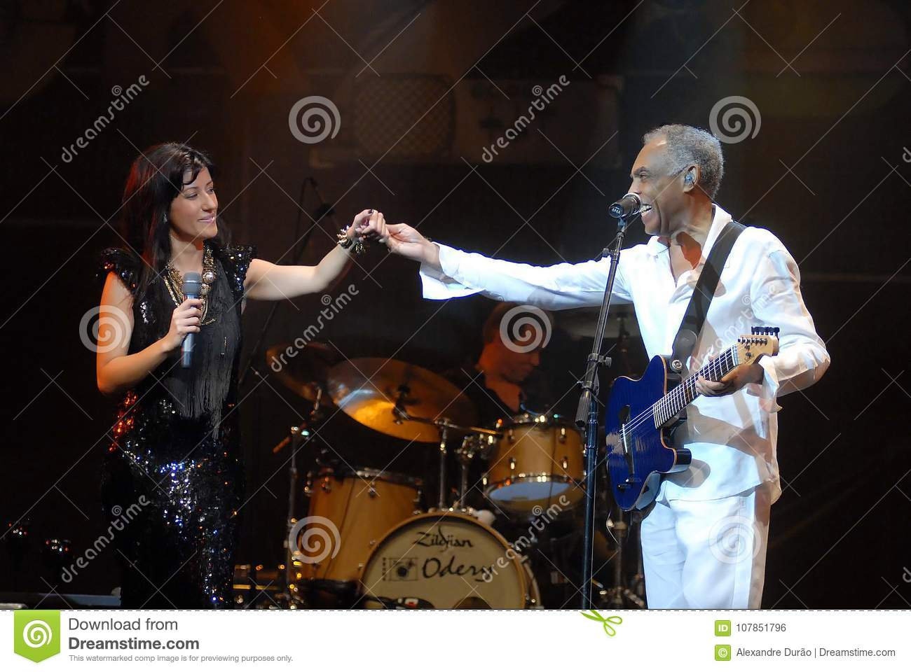 ab2b7aa6e0911 Rio de Janeiro, Brazil, August 26, 2011.Portuguese singer Ana Moura and  Brazilian singer Gilberto Gil during her show at the Back2Black Festival at  ...