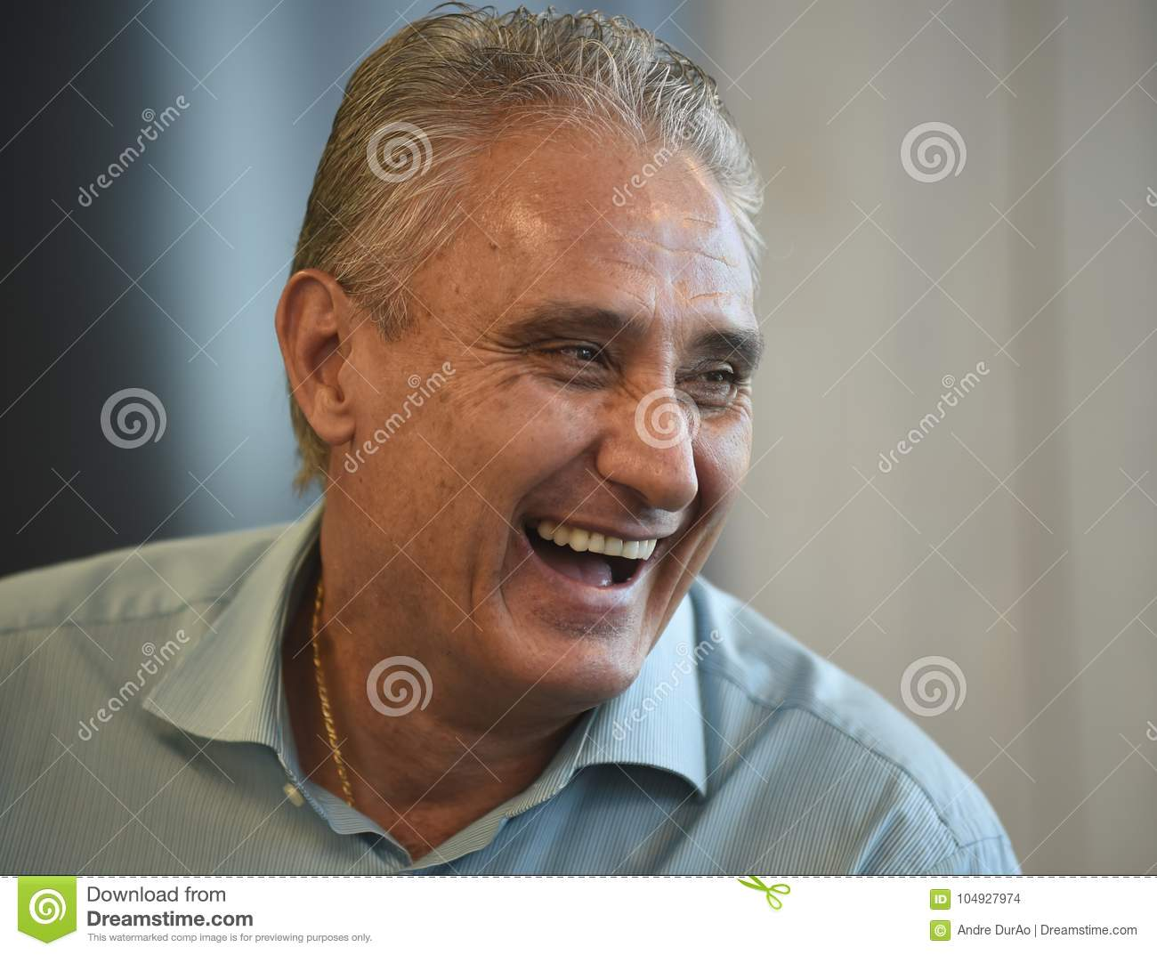 brazilian soccer coach tite editorial stock image - image of