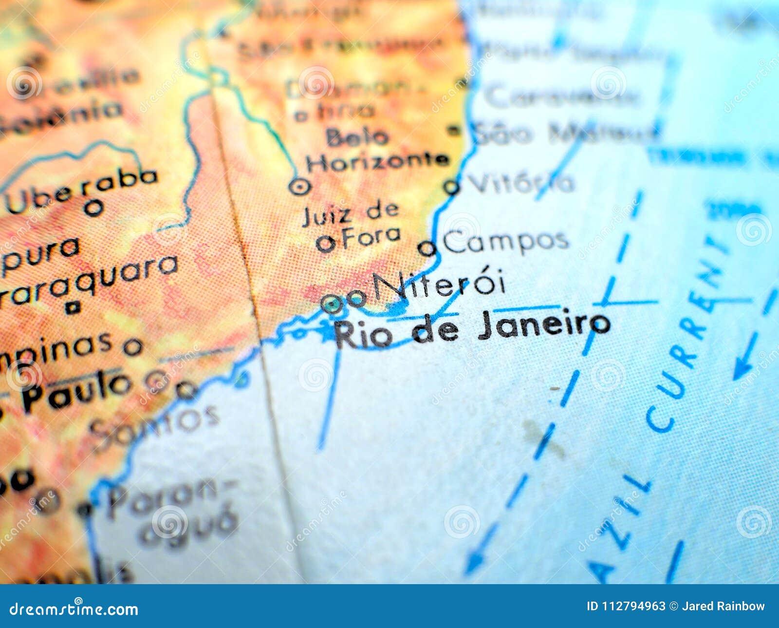 Rio De Janeiro Brazil Focus Macro Shot On Globe Map For Travel Blogs ...