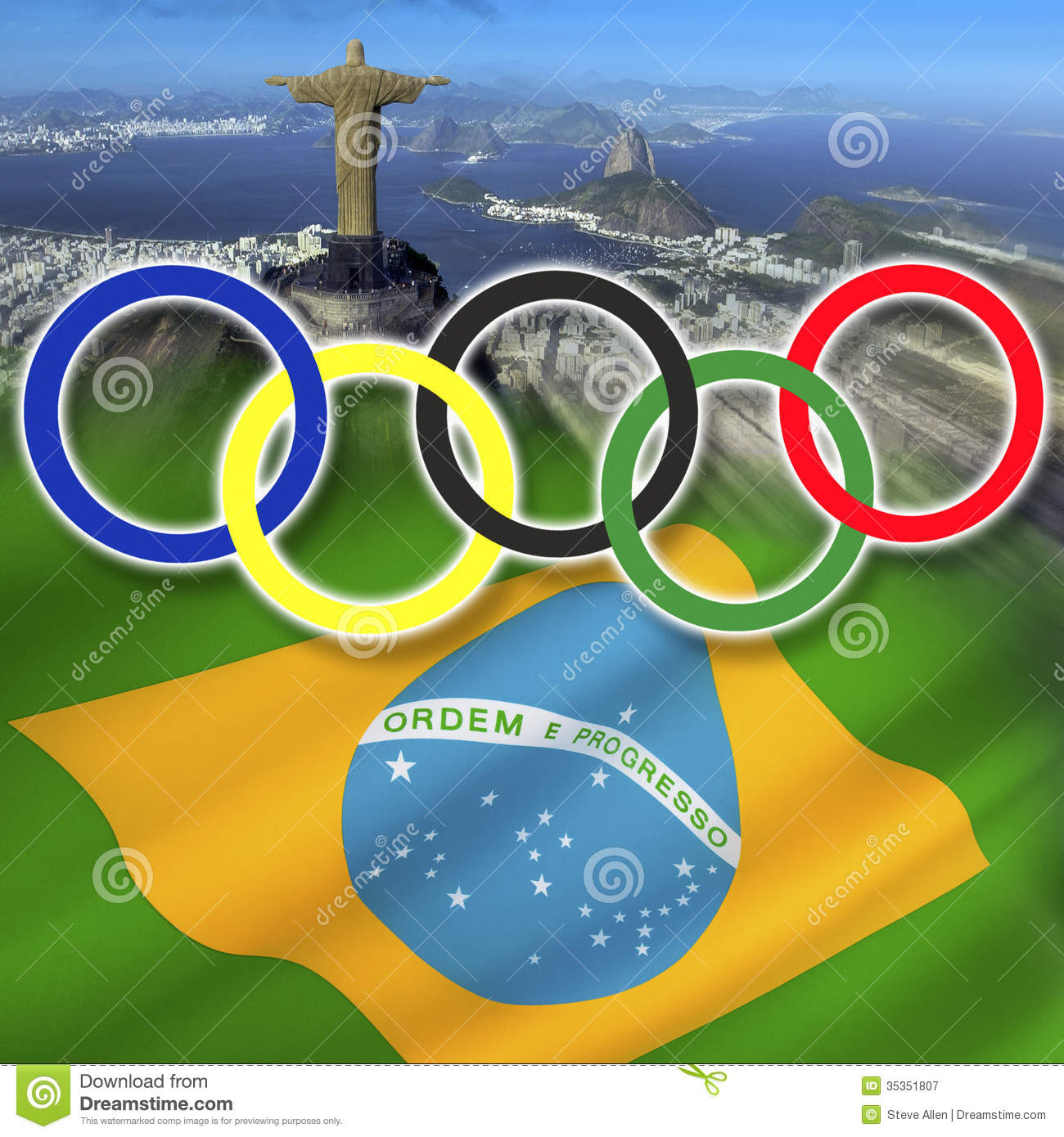 The Olympic Rings over the city of Rio de Janeiro and the national    Olympic Rings 2016