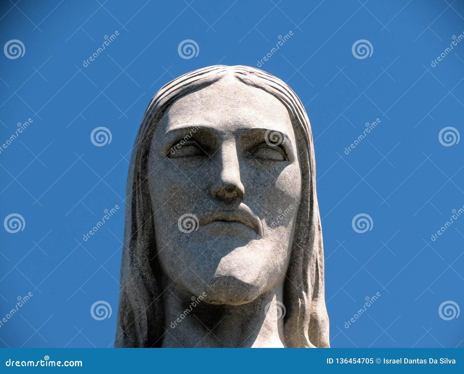 Rio de Janeiro Christ le visage de statue de rédempteur étroitement