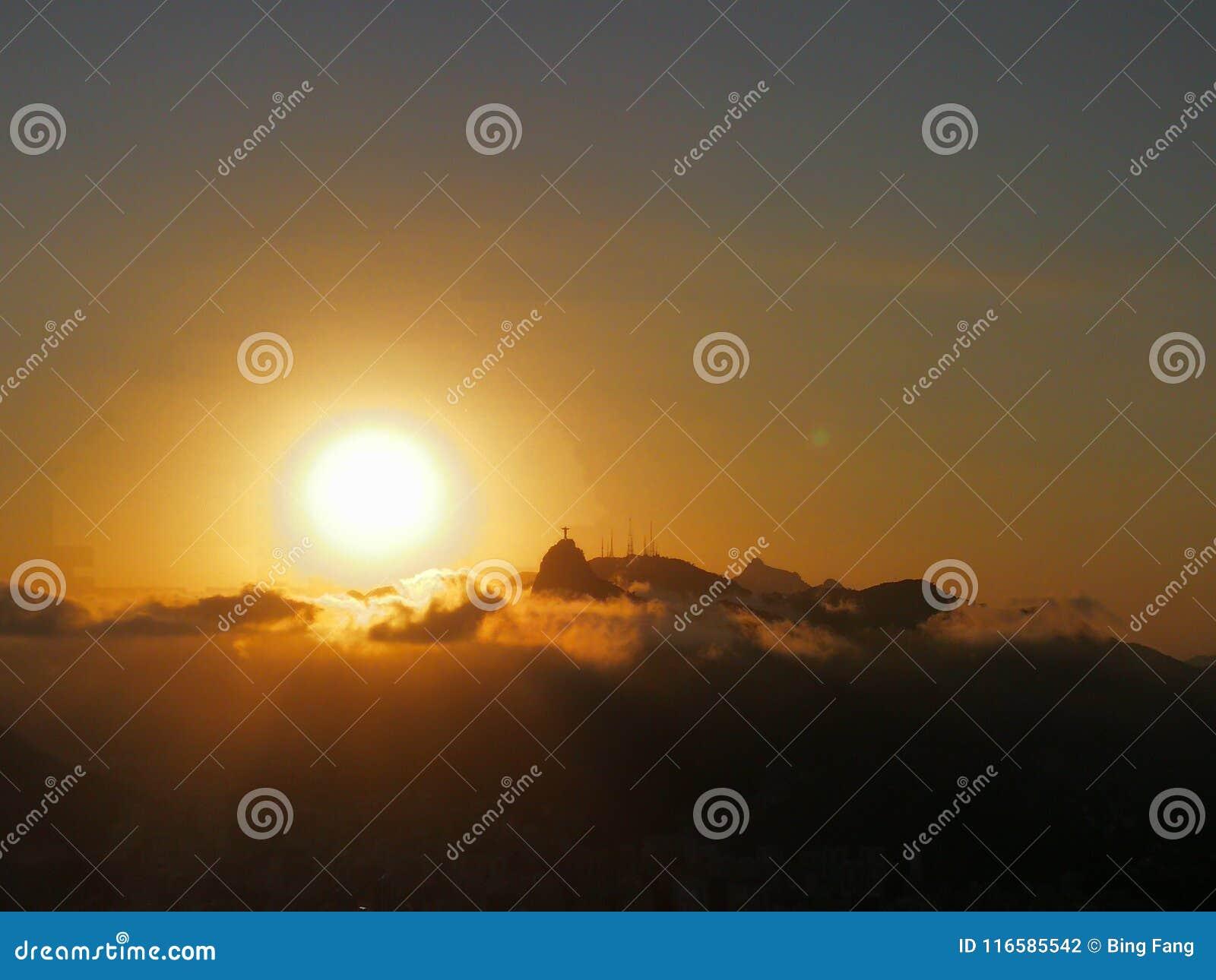 Cloud Sunset And The Jesus Stock Photo Image Of Jesus Janeiro