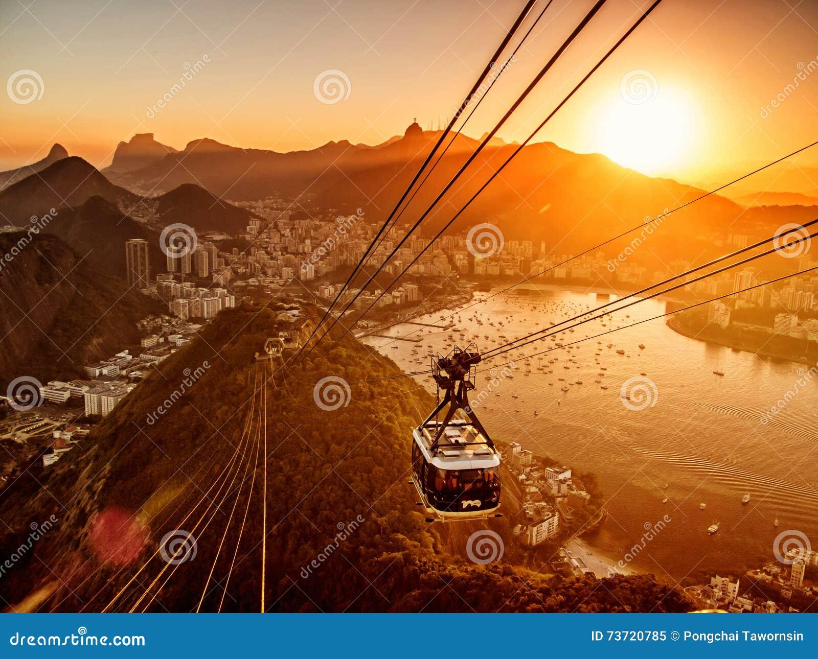 Rio de Janeiro från den Sugar Loaf solnedgången
