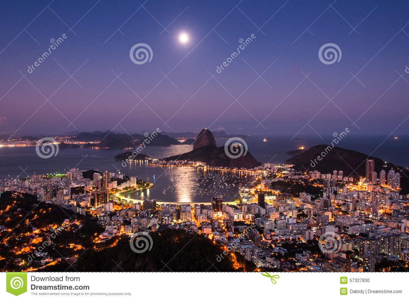 Rio de Janeiro at Night with Moon in the Sky