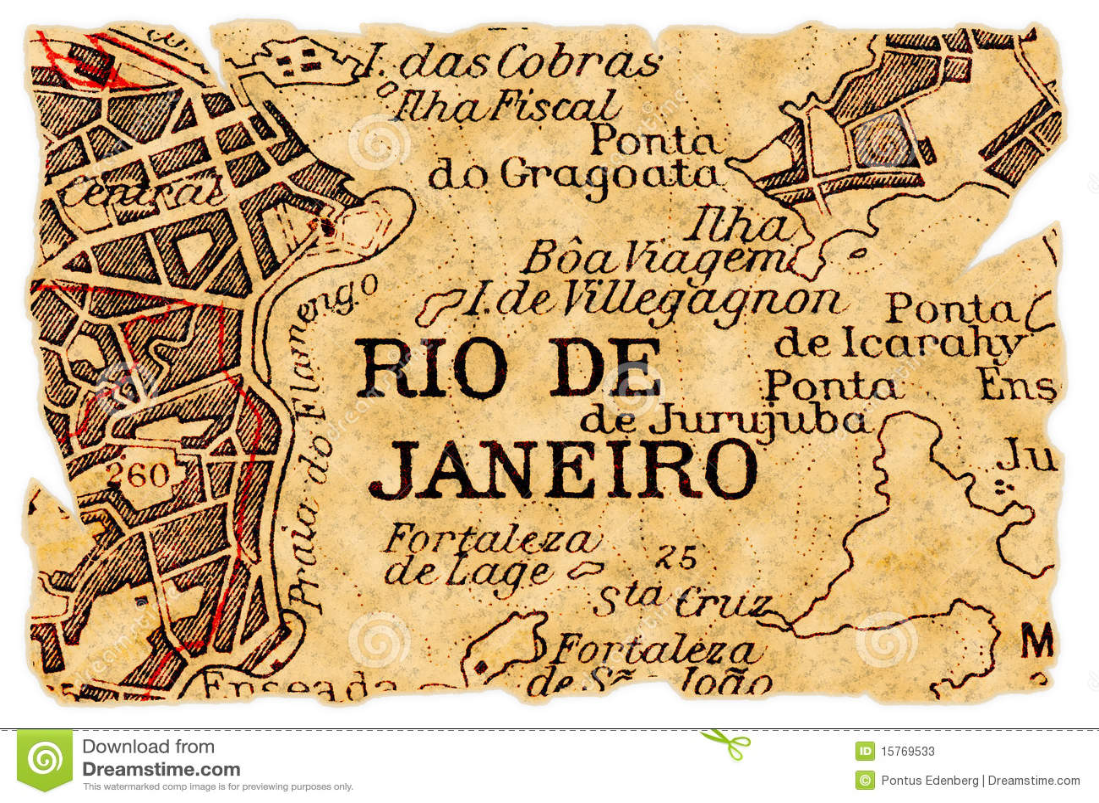 Rio de Janeiro old map stock image. Image of brasil, destination ...