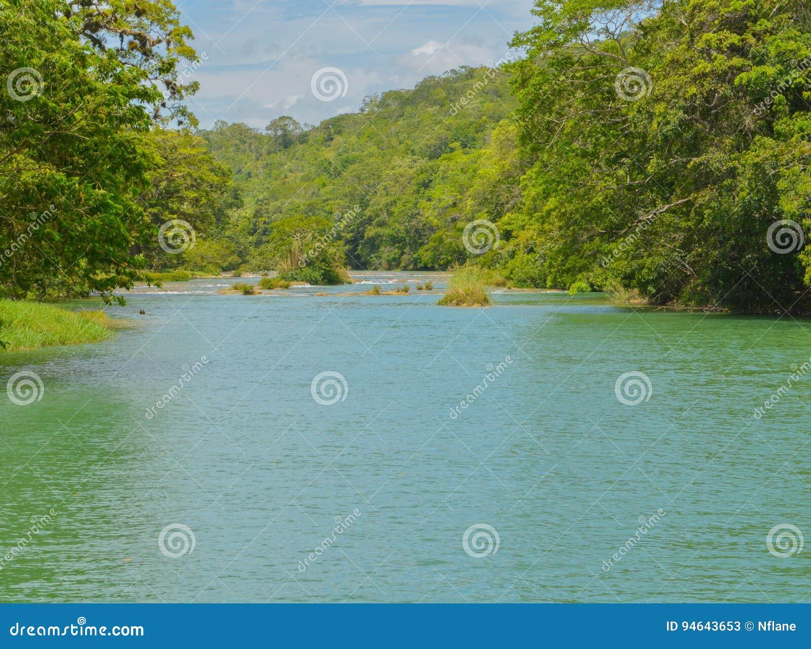 Rio de Macal que flui abaixo da reserva arqueológico de Xunantunich As ruínas maias antigas fora de San Ignacio, Belize