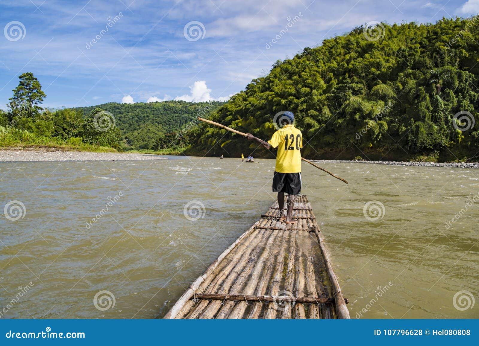 Rafting on bamboo rafts on Rio Grande, Port Antonio, Jamaica