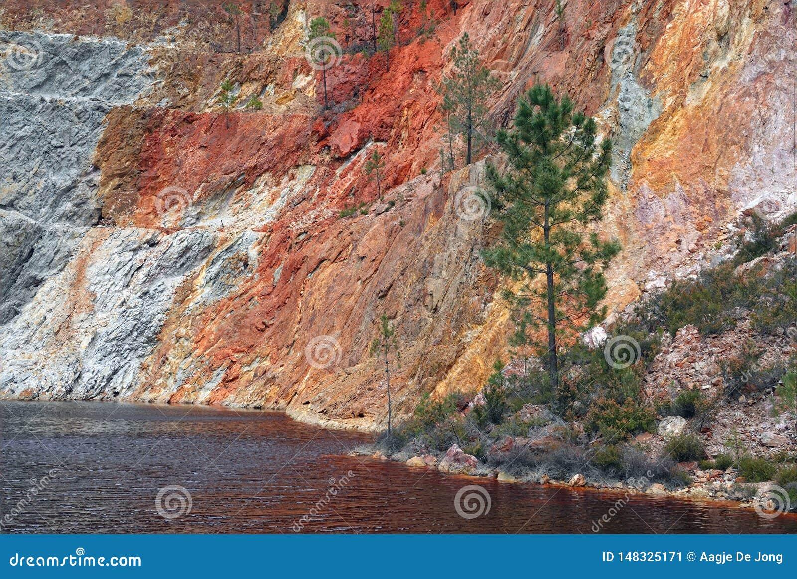 Rio Tinto-het meer van de mijnkrater dichtbij Nerva in Spanje