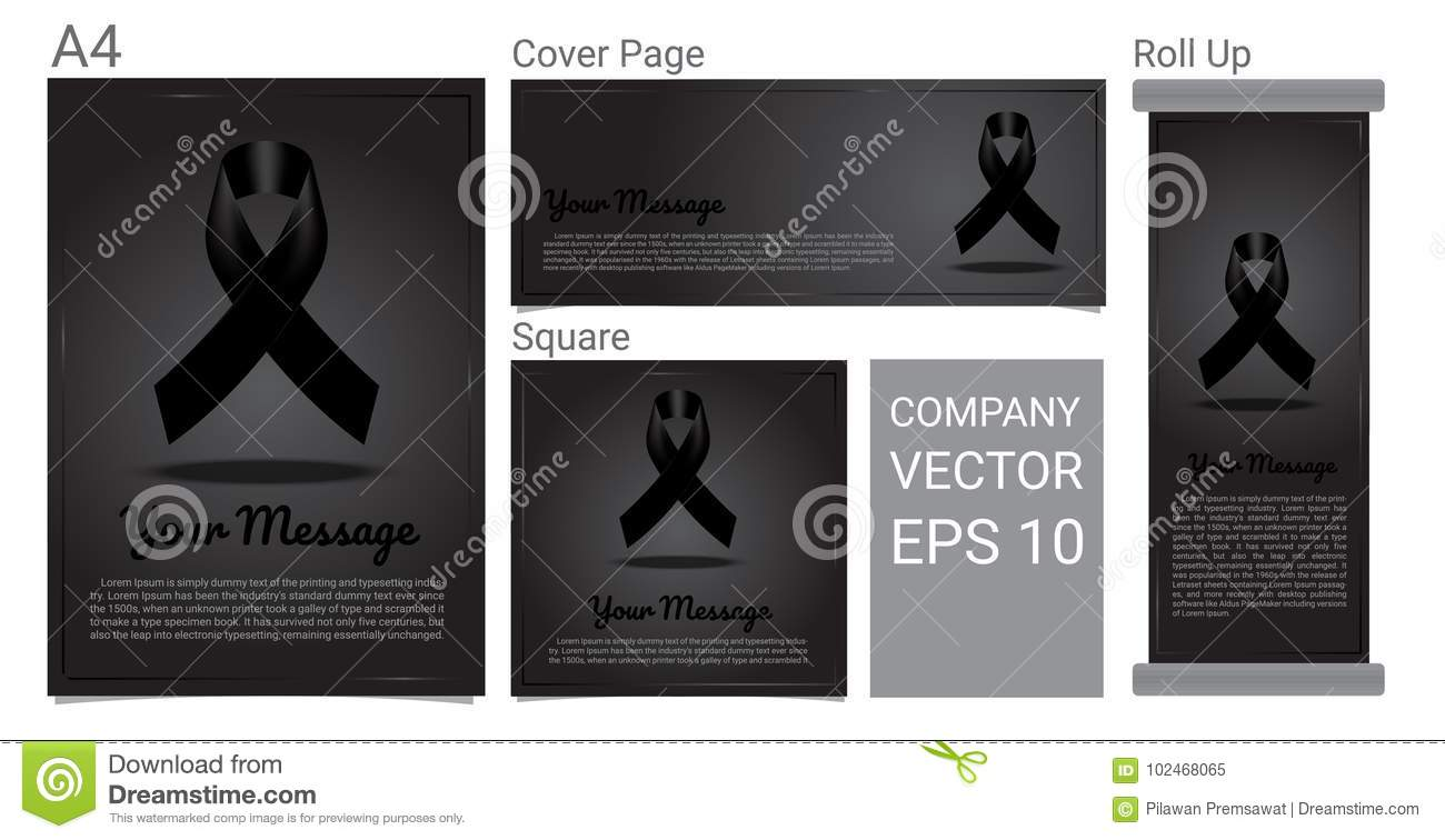 rip funeral card black ribbon and text banner on grey background