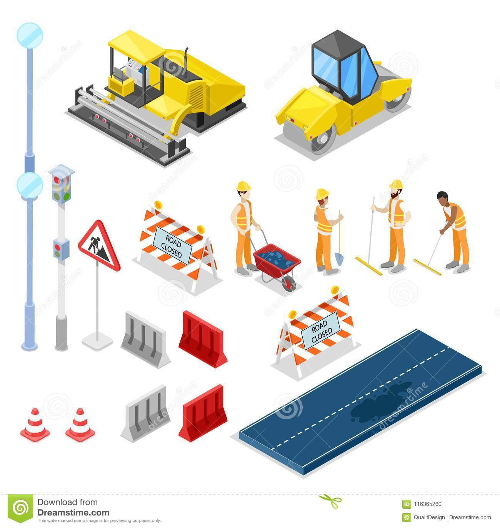 Riparazione della strada e costruzione, icone isolate isometriche di vettore 3D
