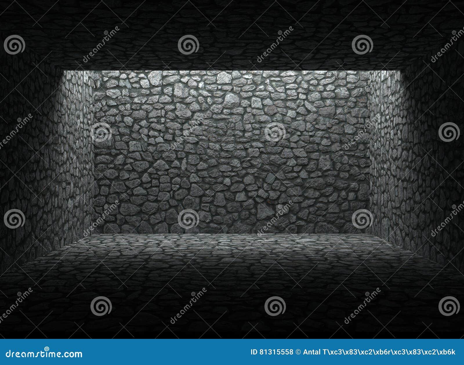 Riparo, parete di pietra e pavimento abbandonati