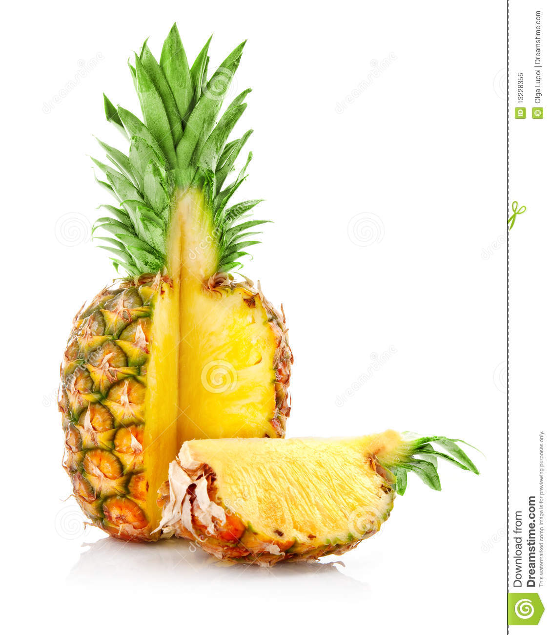 Ripe ananas fruit with cut