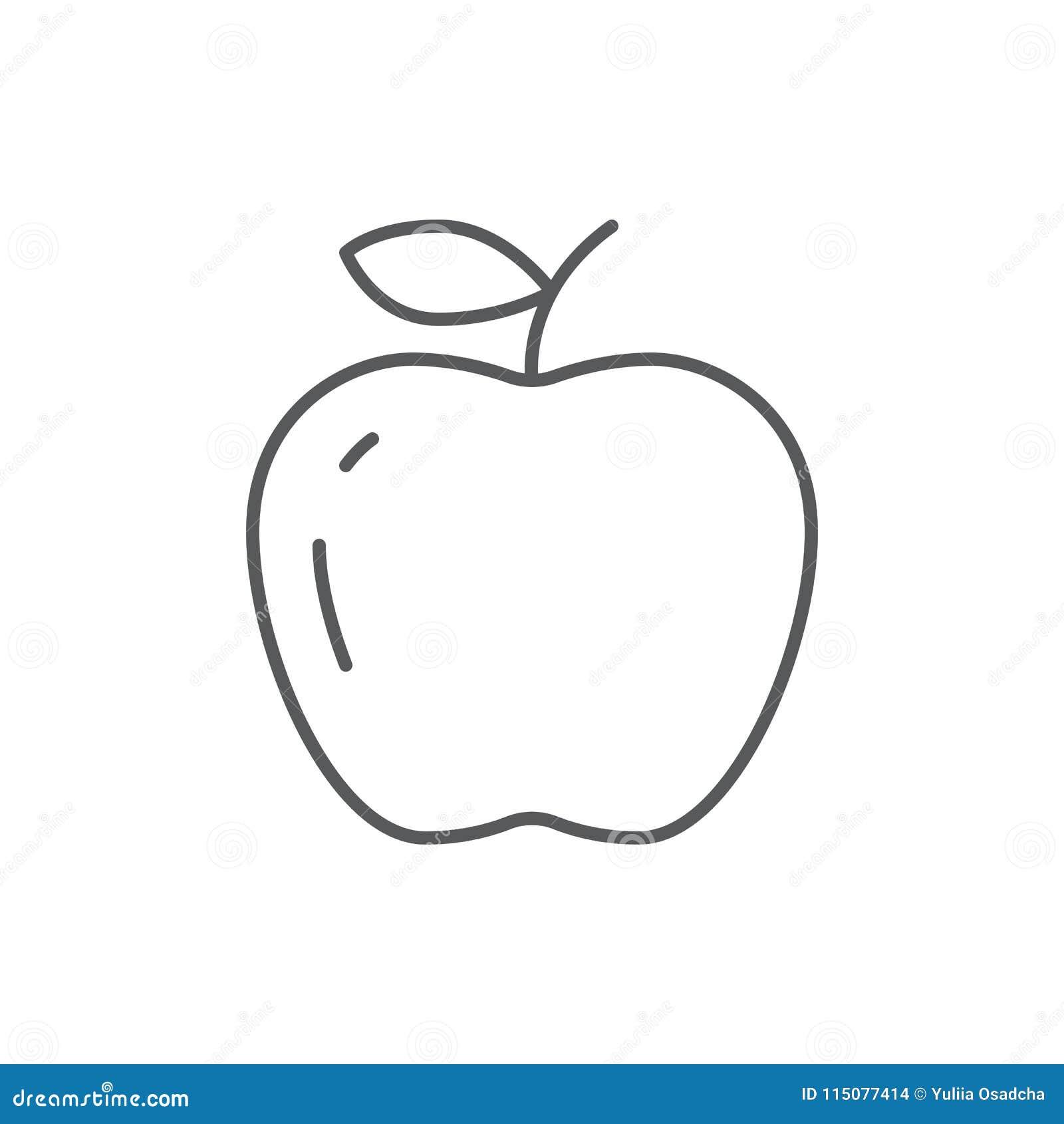 ripe apple editable outline icon pixel perfect symbol of fresh