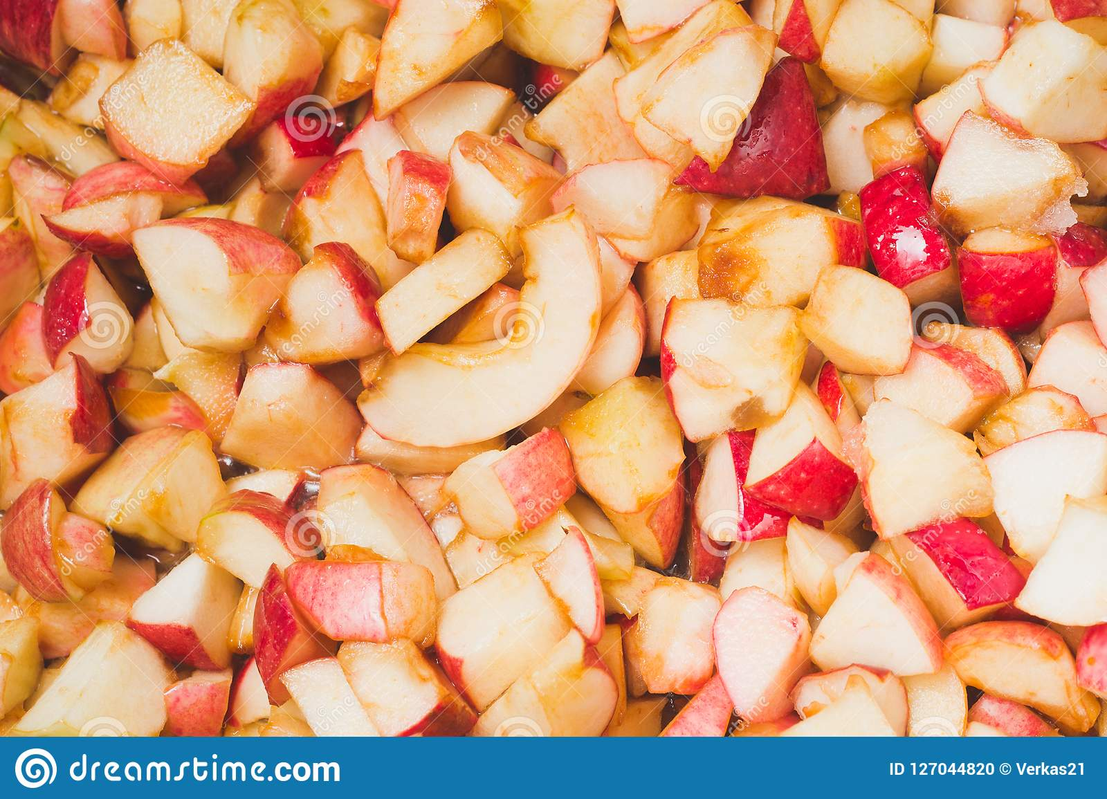 Ripe Apples Are Cooked In Sugar Syrup  The Process Of Making