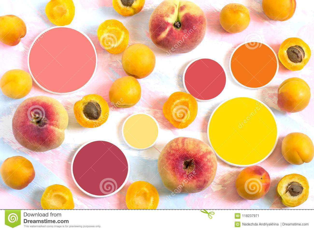 Ripe Apricots Flat Peaches And Color Samples Stock Image Image Of
