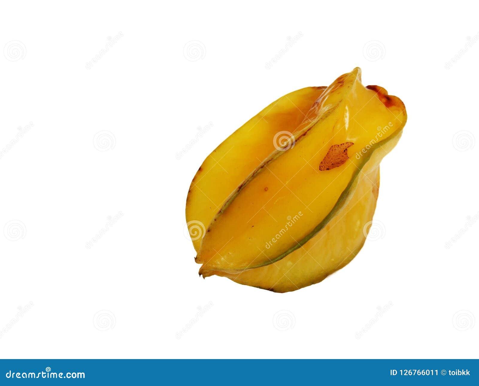 Ripe Carambola, Star Fruit. Isolated on white backgroundn Stock Image