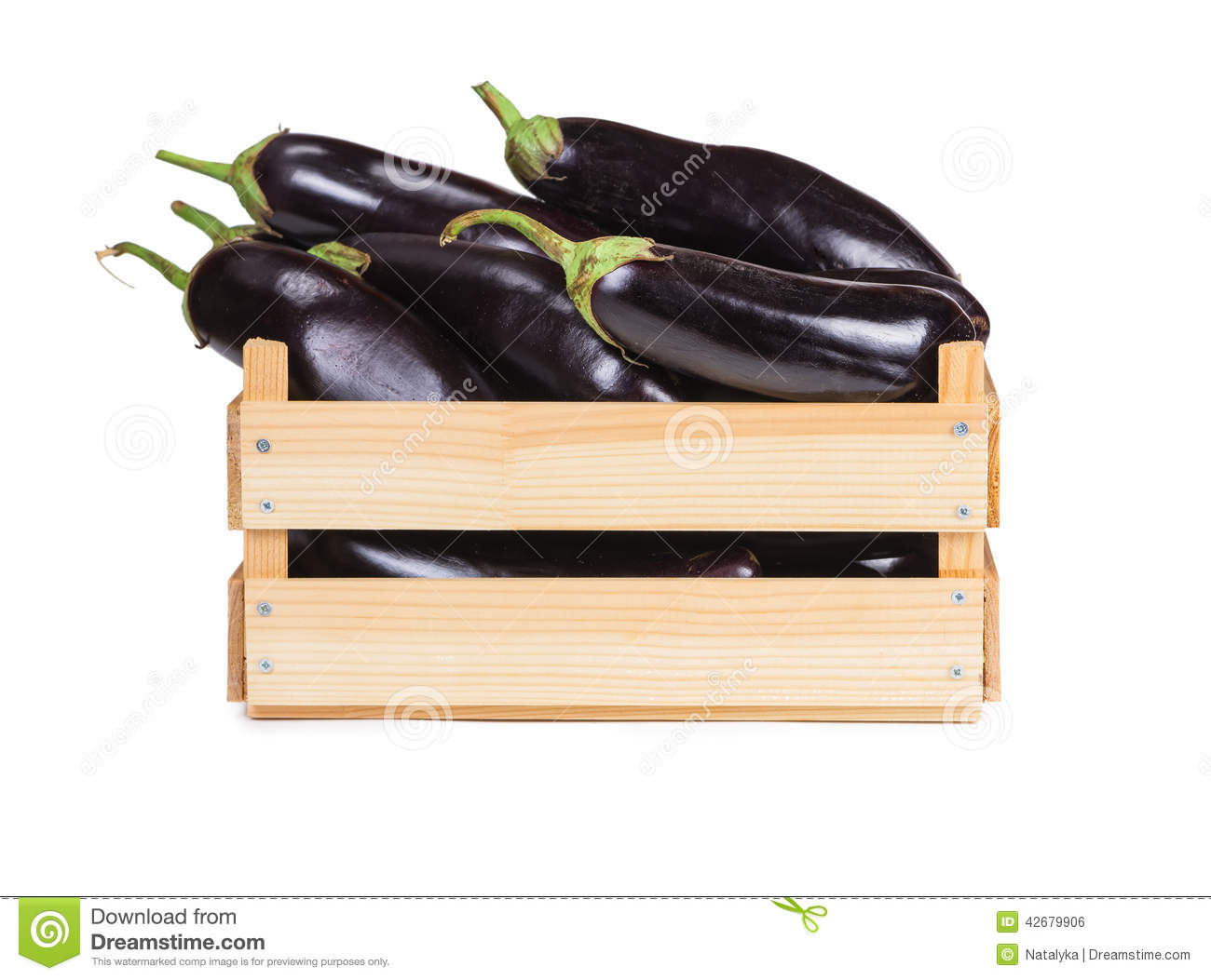 88b2d04b4d Ripe Eggplant In A Wooden Box Stock Photo - Image of sweet, white ...
