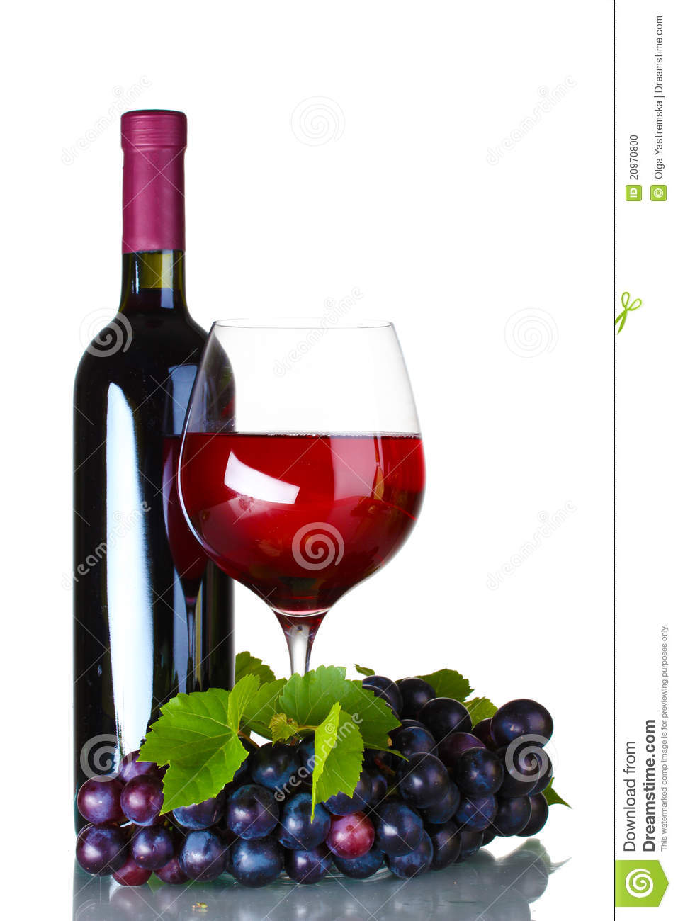 Ripe grapes wine glass and bottle of wine stock photo for Wine bottle glass