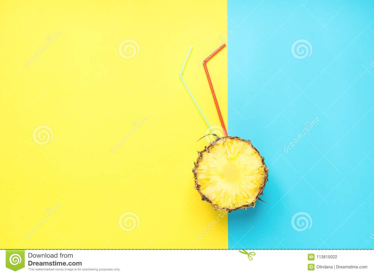 Ripe Juicy Cut in Half Pineapple with red and Green Drinking Straws Duotone Yellow Blue Background. Fresh Juices Summer Cocktails