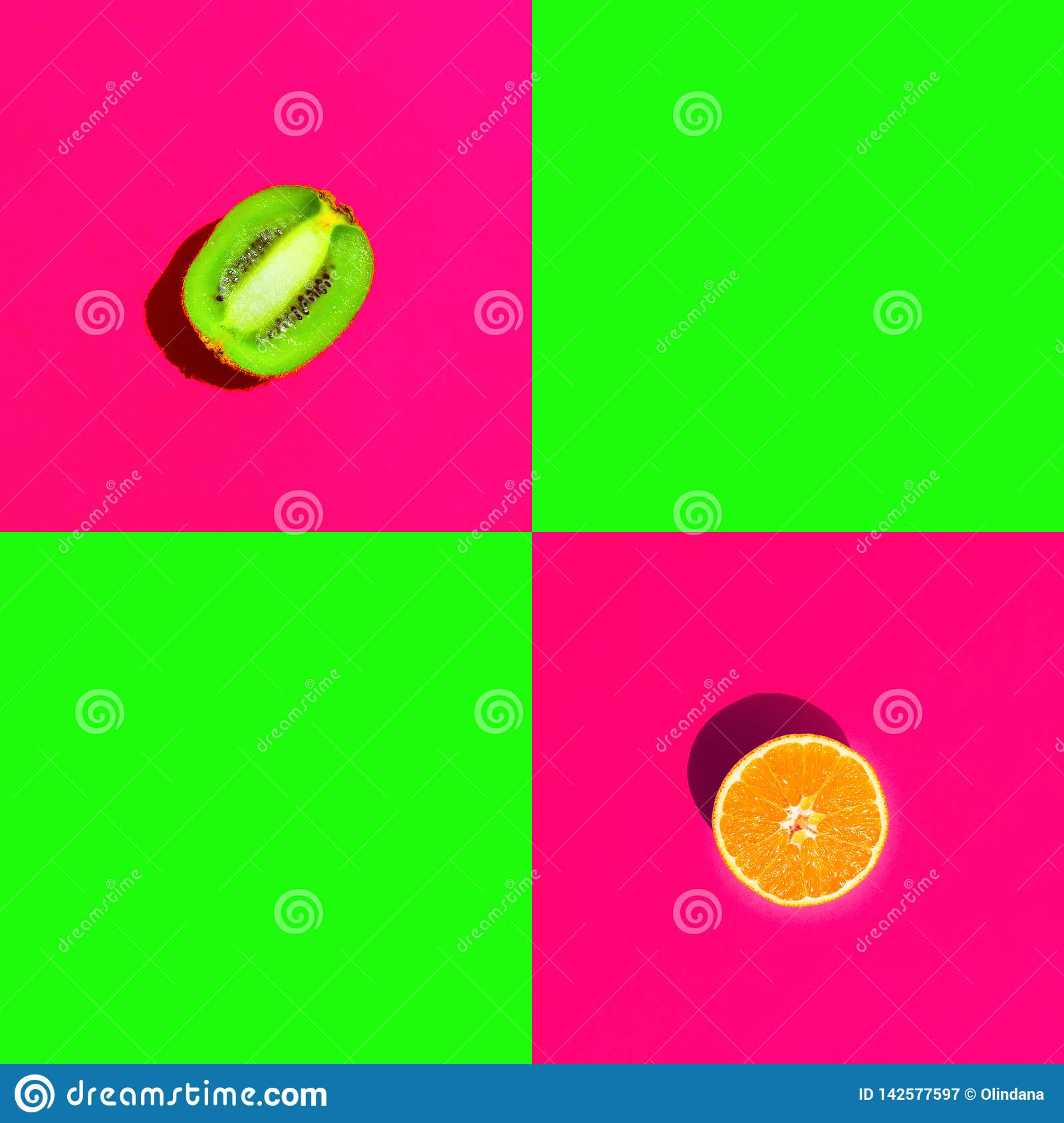 Ripe juicy halved orange kiwi on duotone bright neon fuchsia pink green background with blank squares for text