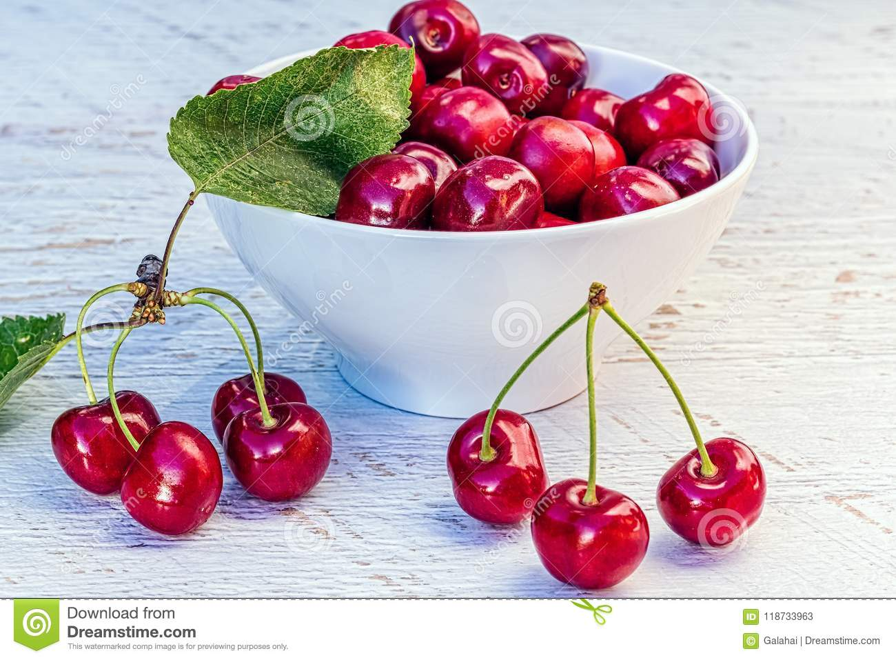 Ripe Cherries In A Cup And On A Table, Vintage Stock Image