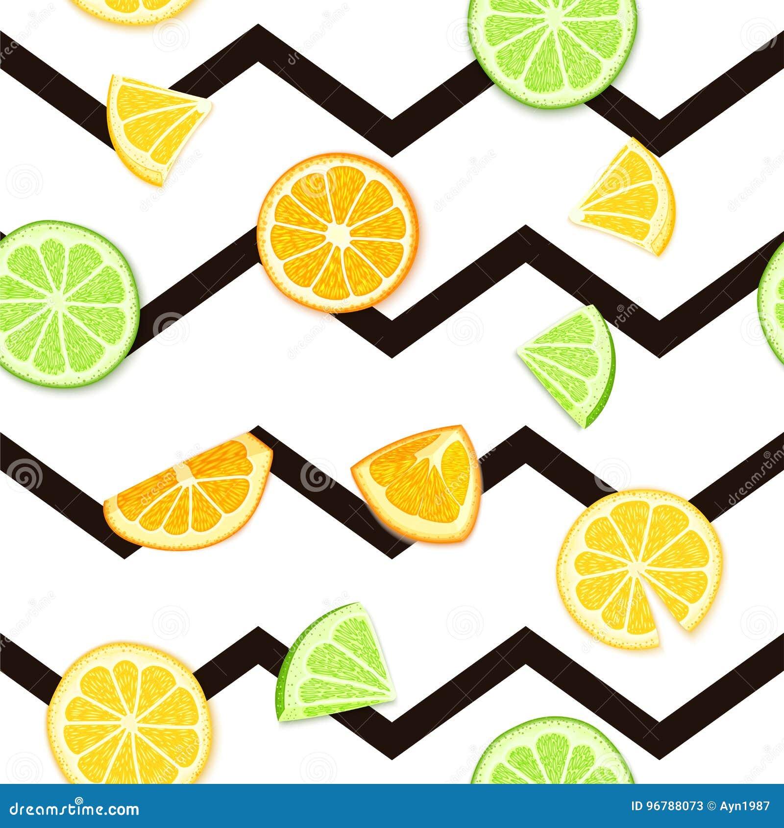 Ripe juicy tropical fruit striped seamless background. Vector card illustration. Fresh citrus lime orange lemon fruit on