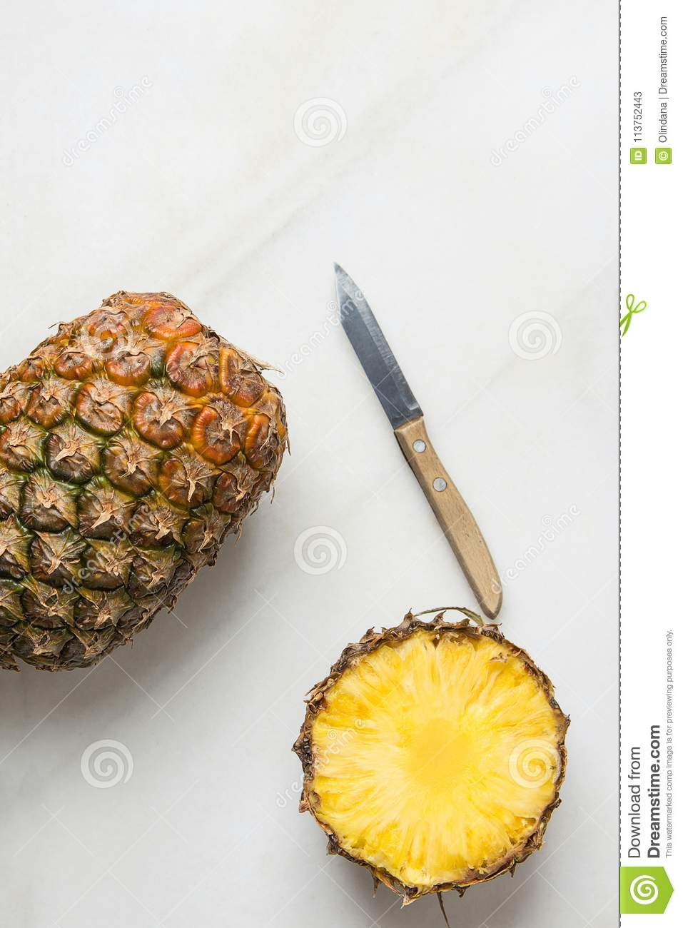 Ripe Juicy Whole And Sliced Pineapple Kitchen Knife On Marble Table ...