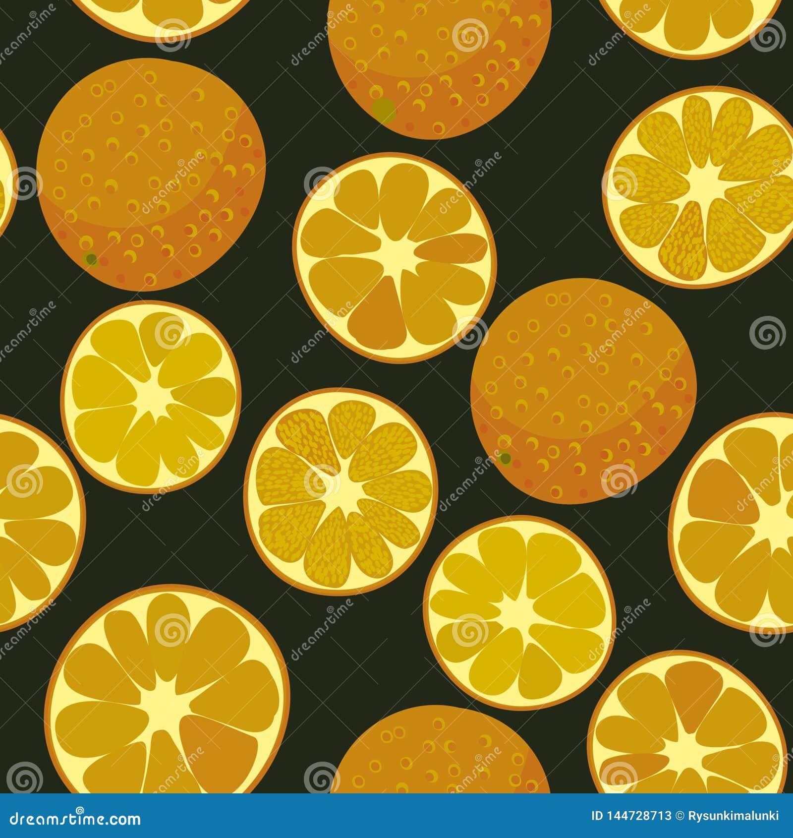 Ripe oranges on dark background seamless vector pattern
