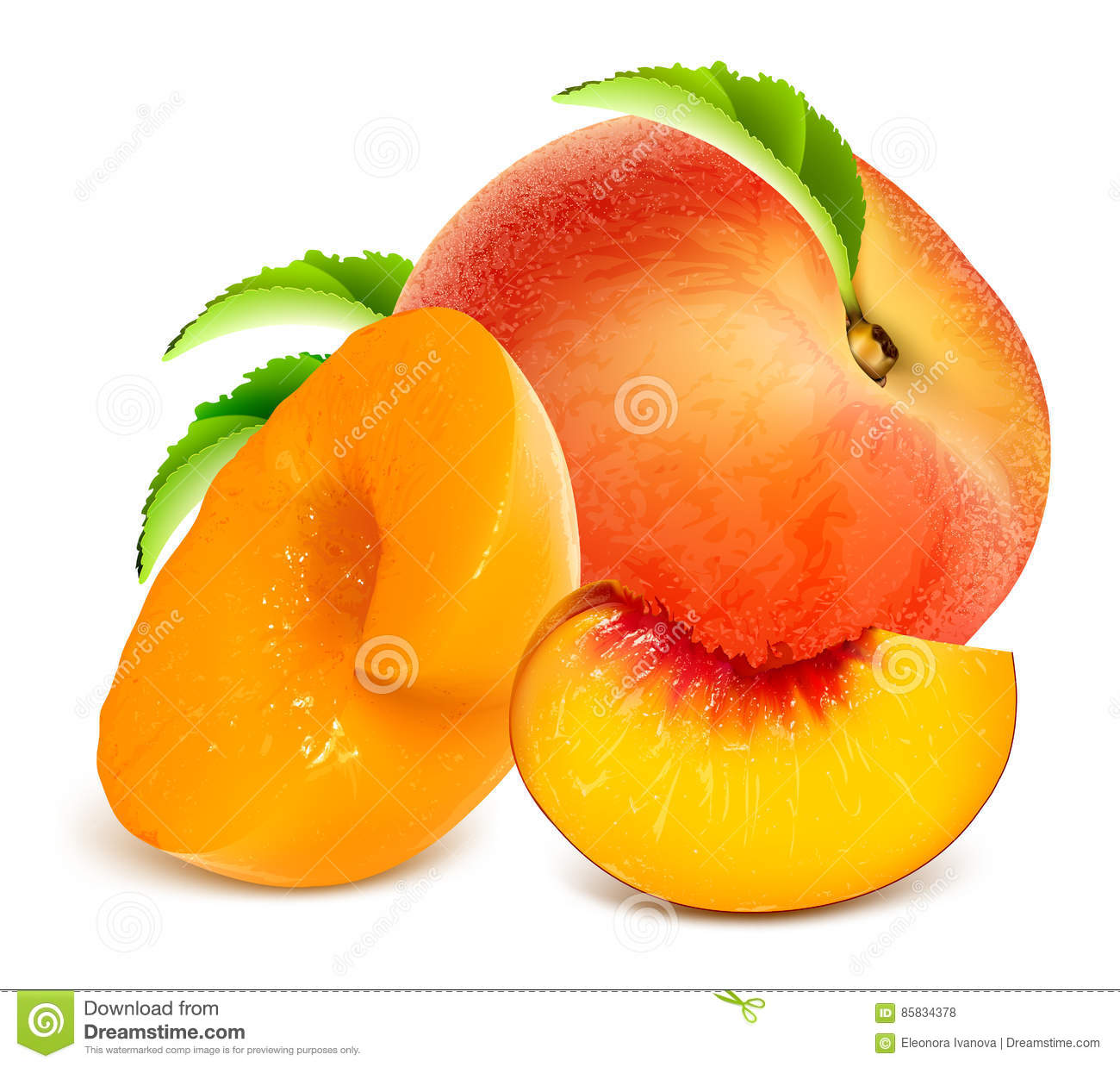 Ripe peaches. Whole and slices