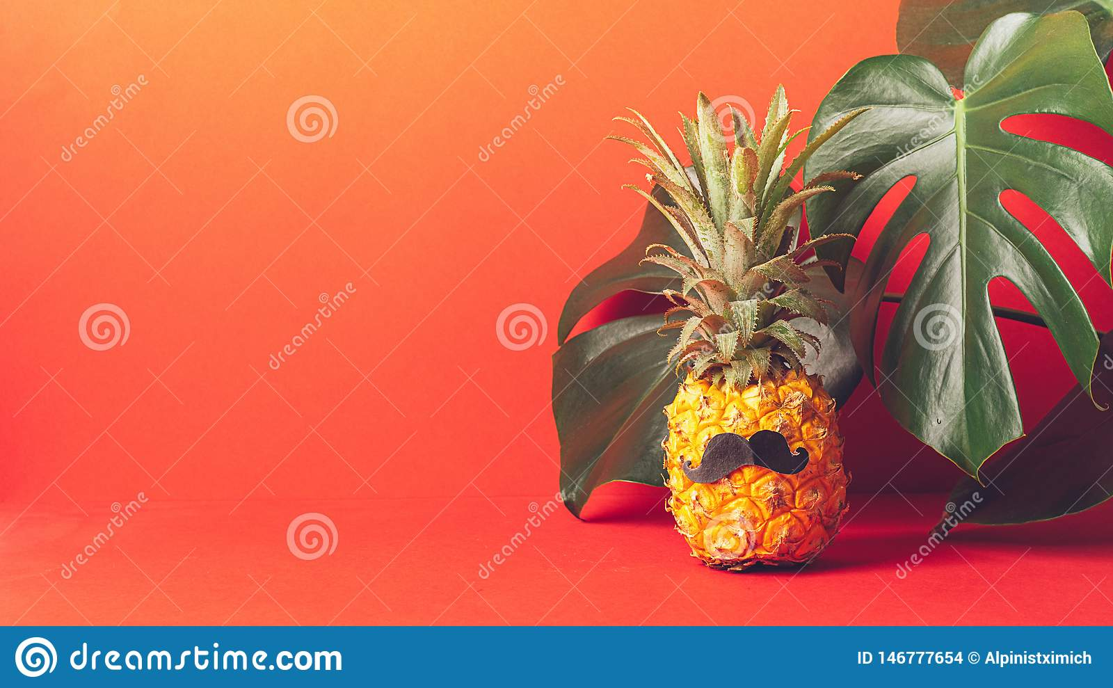 Ripe pineapple with a black mustache on a red background, with large green leaves of the plant. Funny face from food.