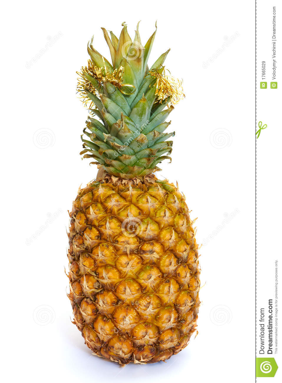Ripe Pineapple With Christmas Decoration Stock Image