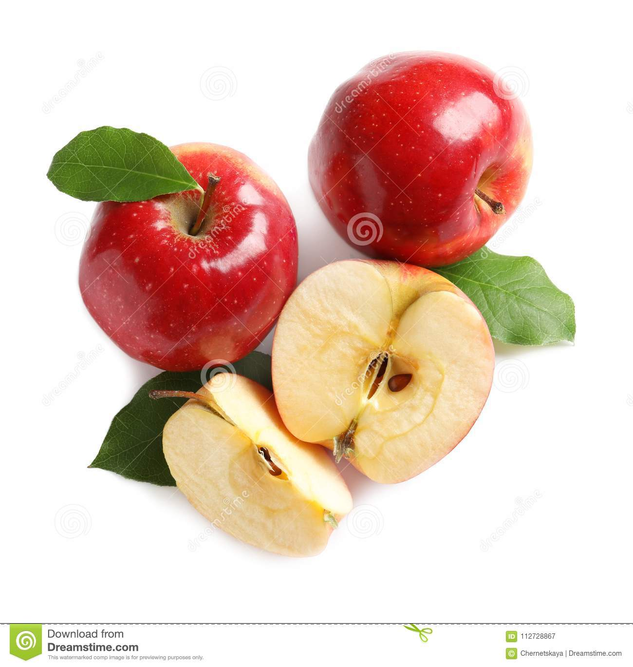 Ripe red apples with slices