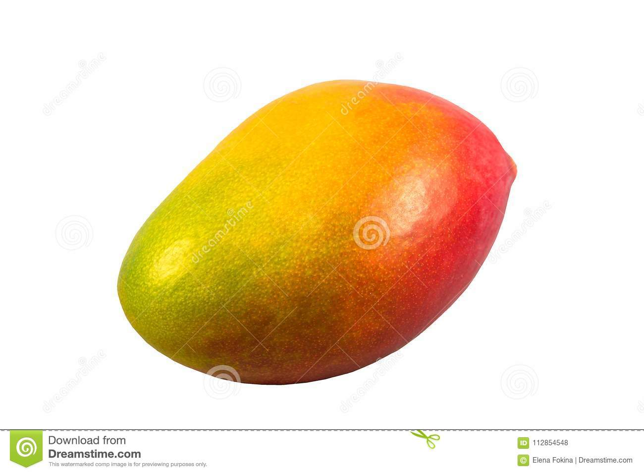 Ripe red and yellow mango isolated on a white background