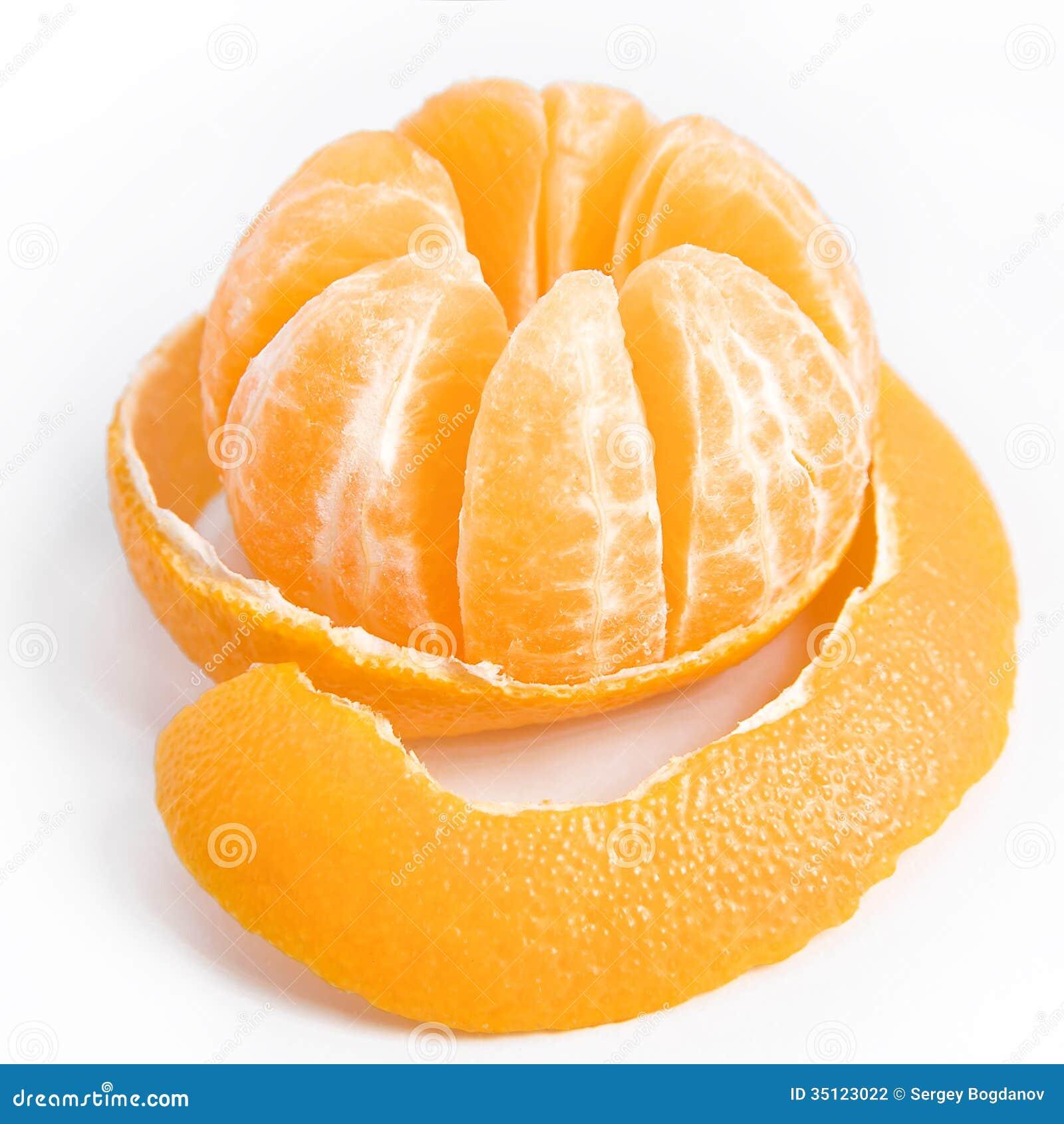 Ripe sweet tangerine with peeled skin stock photography image