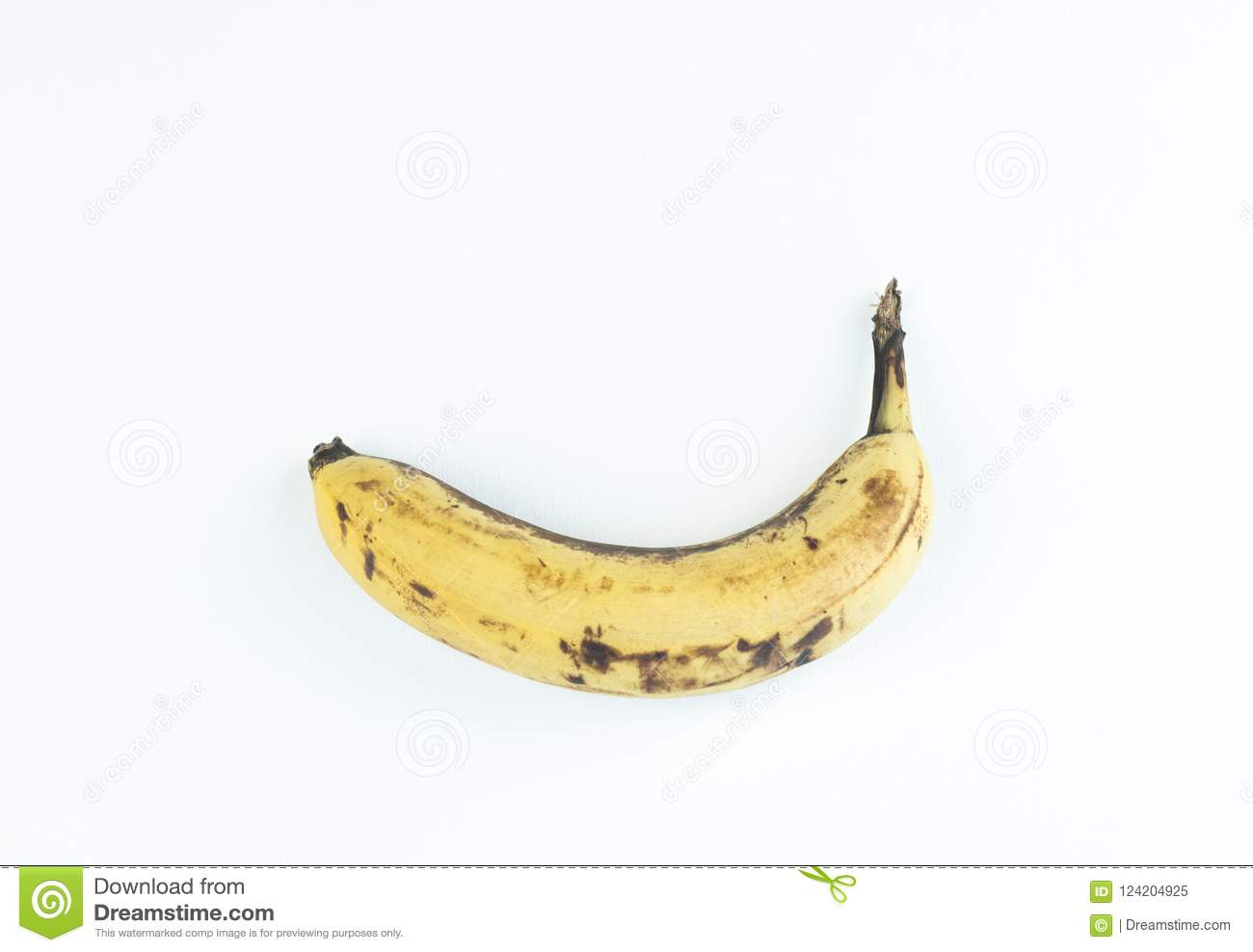Ripe yellow fruit bananas, ripe banana with dark spots on a white background with clipping path.