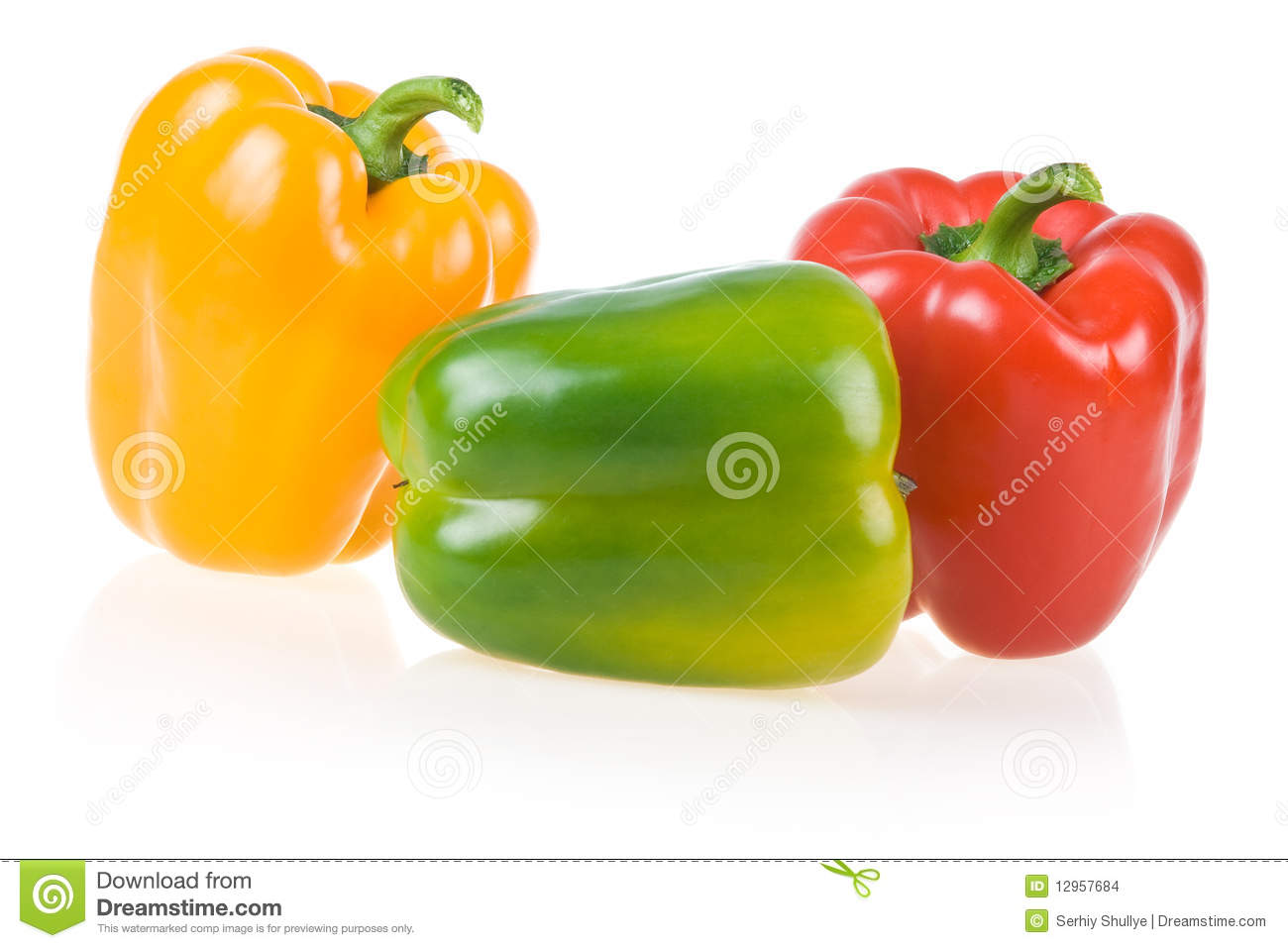 Ripe Yellow, Green and Red Paprika Isolated