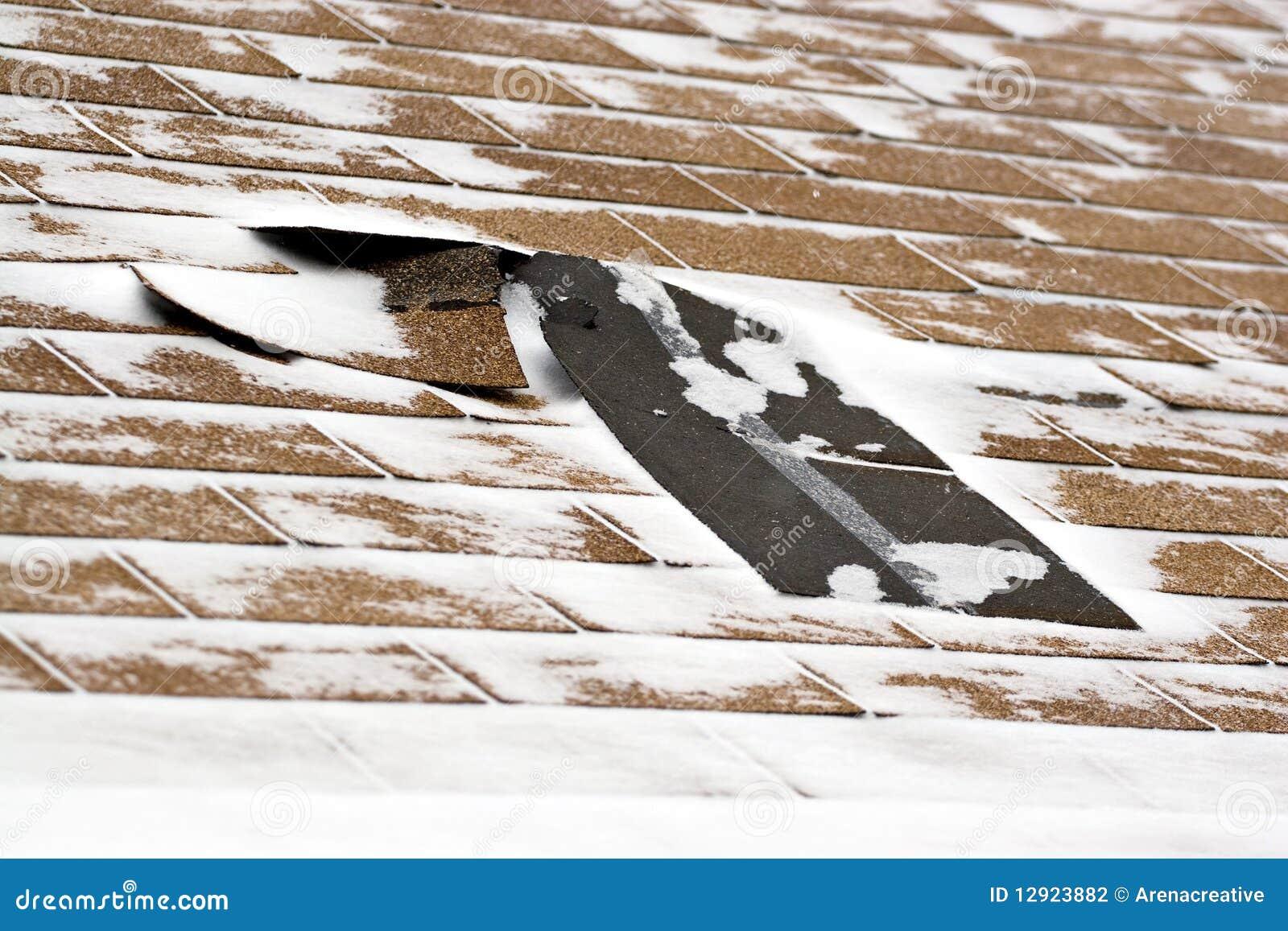 Ripias dañadas invierno de la azotea