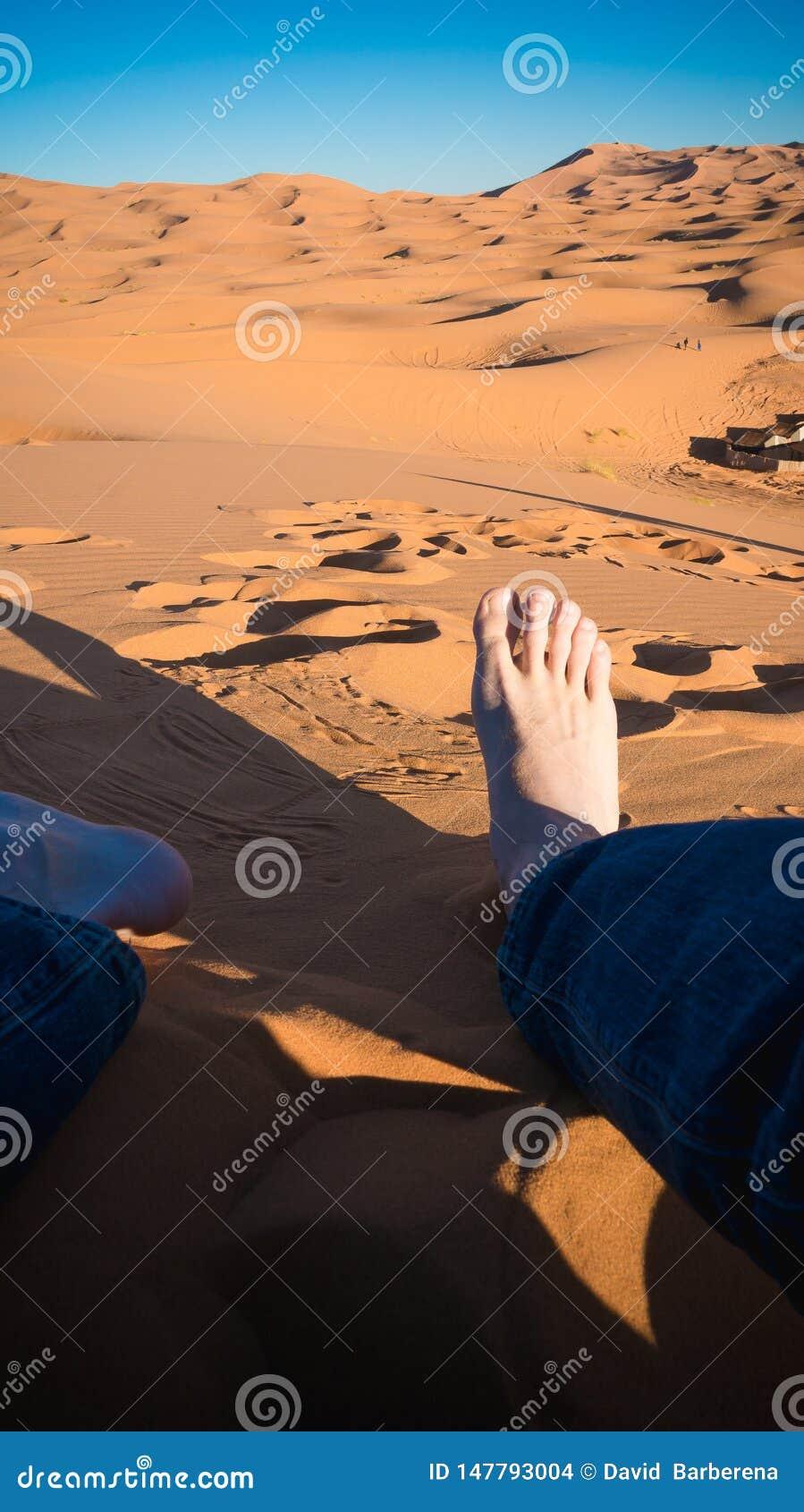 Riposando nel deserto del Sahara