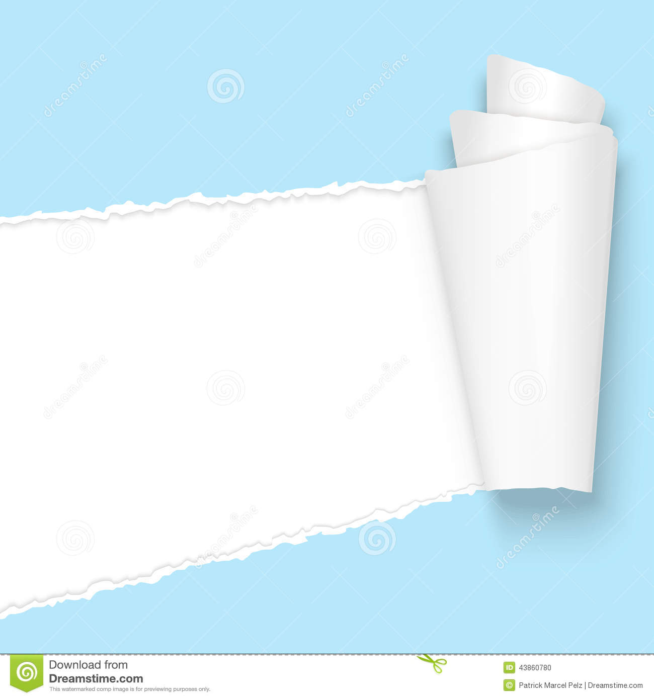 Ripped Open Paper Light Blue Stock Vector Image 43860780