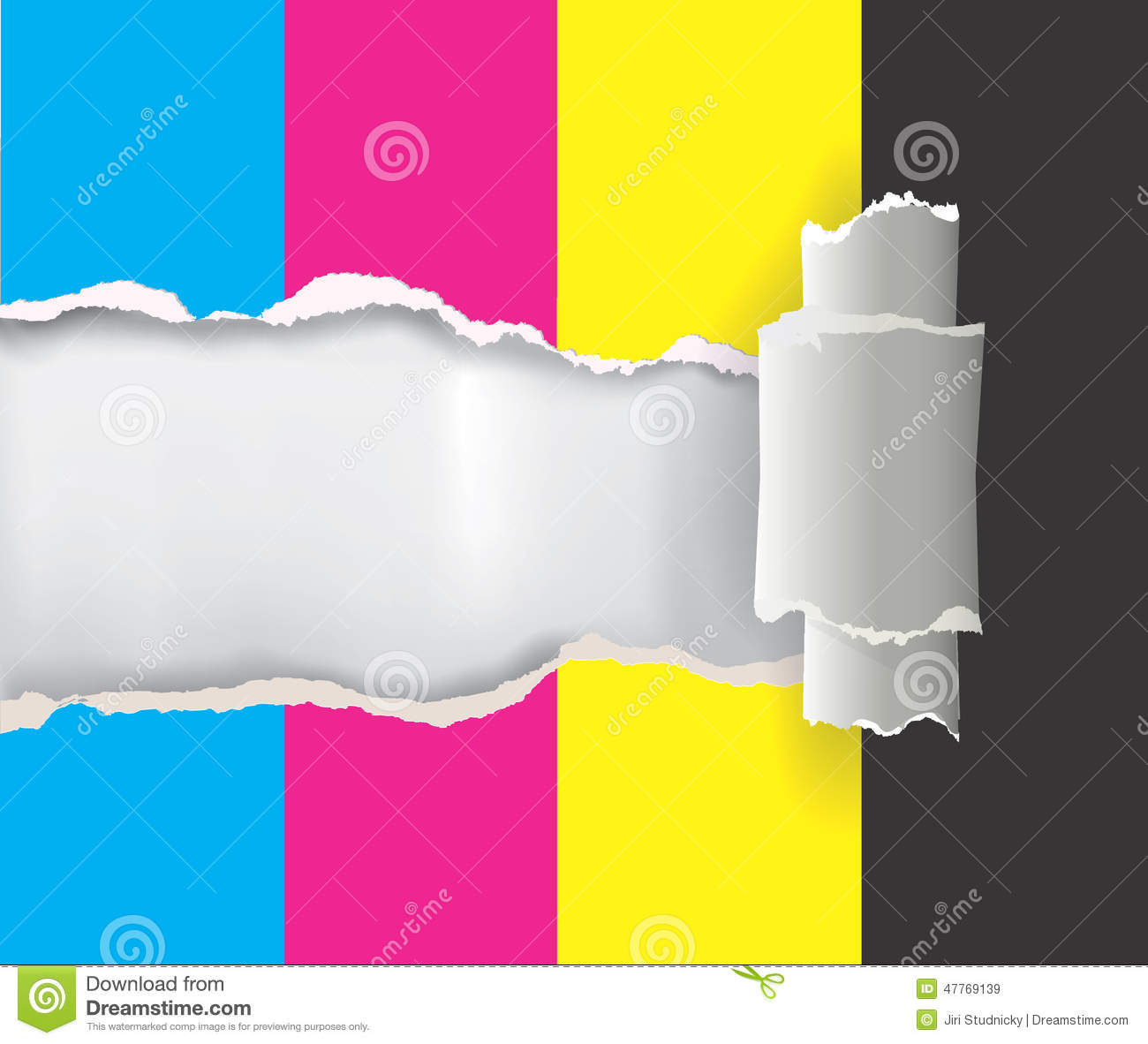 Color printing paper - Ripped Paper With Print Colors Royalty Free Stock Images