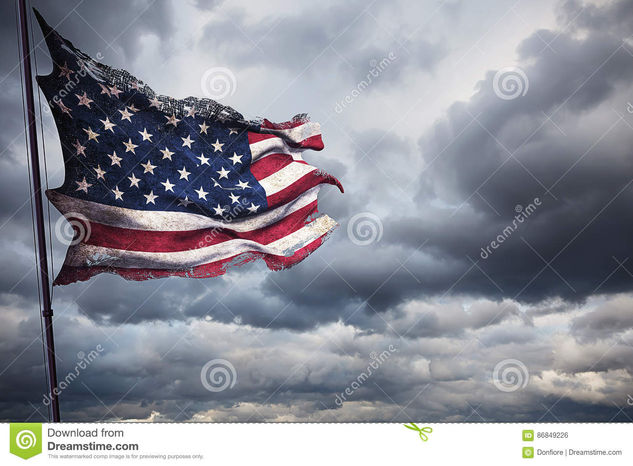 Ripped Tear Grunge Old Closeup Of American USA Flag Stars And - How old is the united states of america