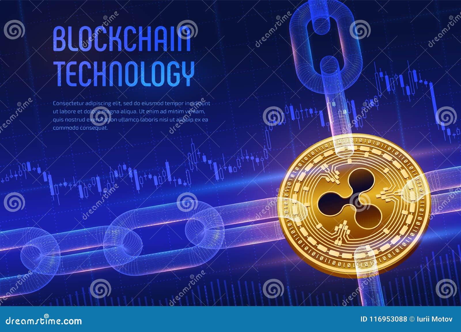 Ripple Moeda cripto Corrente de bloco bitcoin 3D dourado físico isométrico com a corrente do wireframe no fundo financeiro azul b