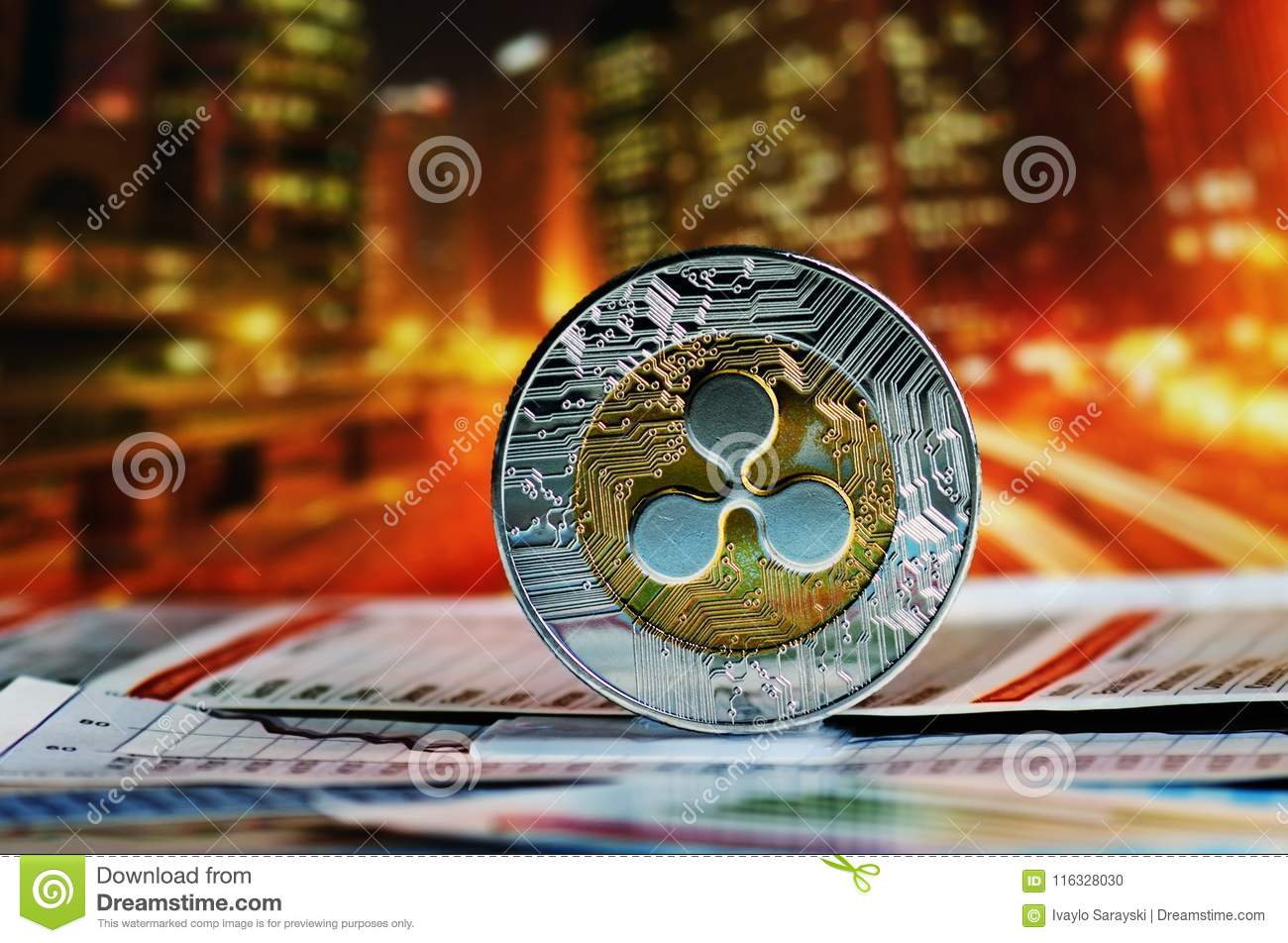 Ripple over colorful background