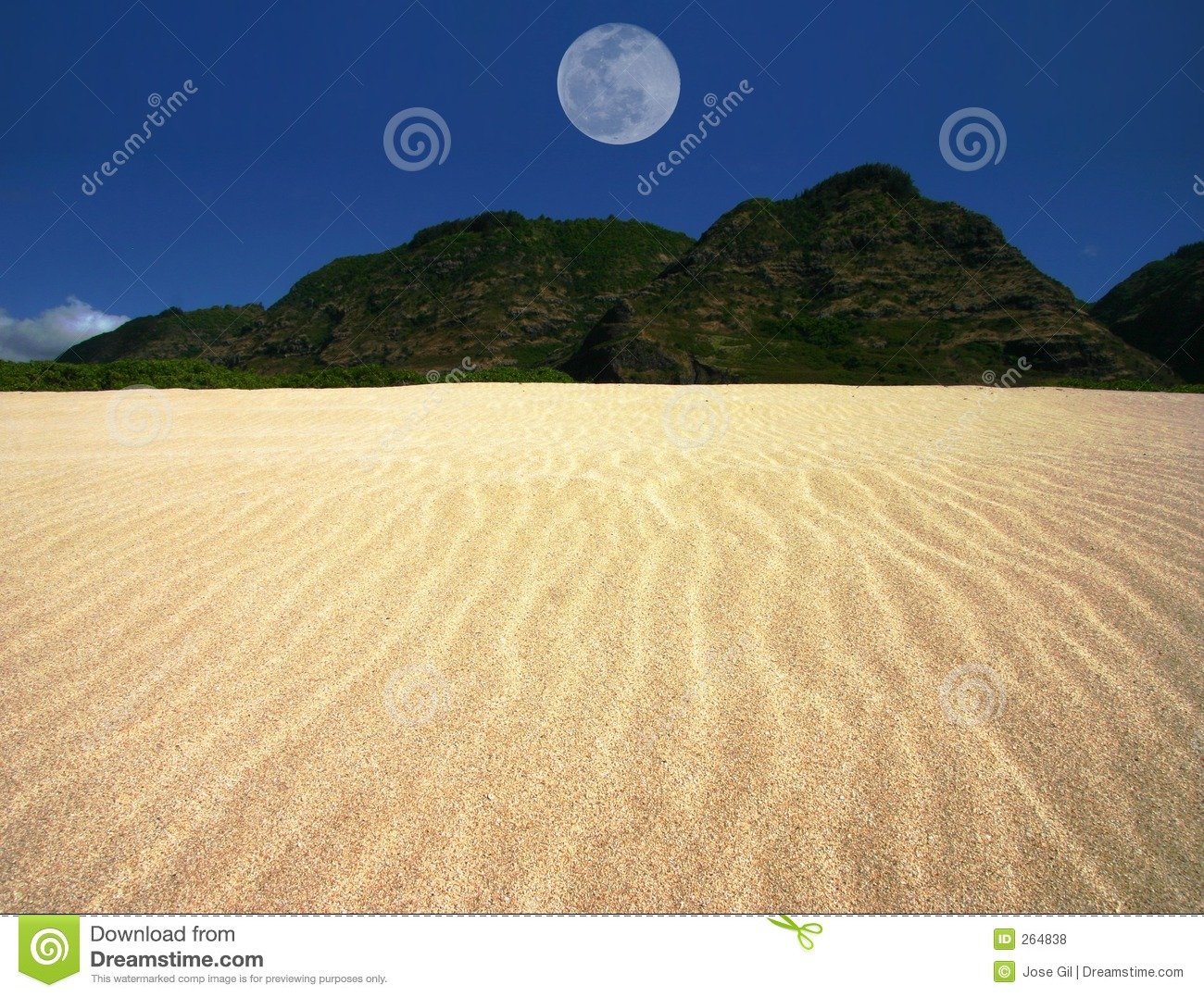 Landscaping Over Sand : Rippled sand landscape with centered moon royalty free
